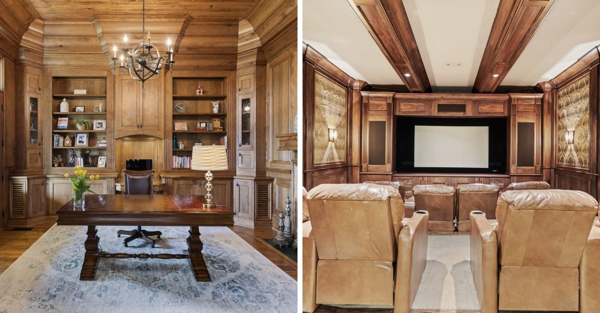 Wood paneled office and movie theatre in luxury house
