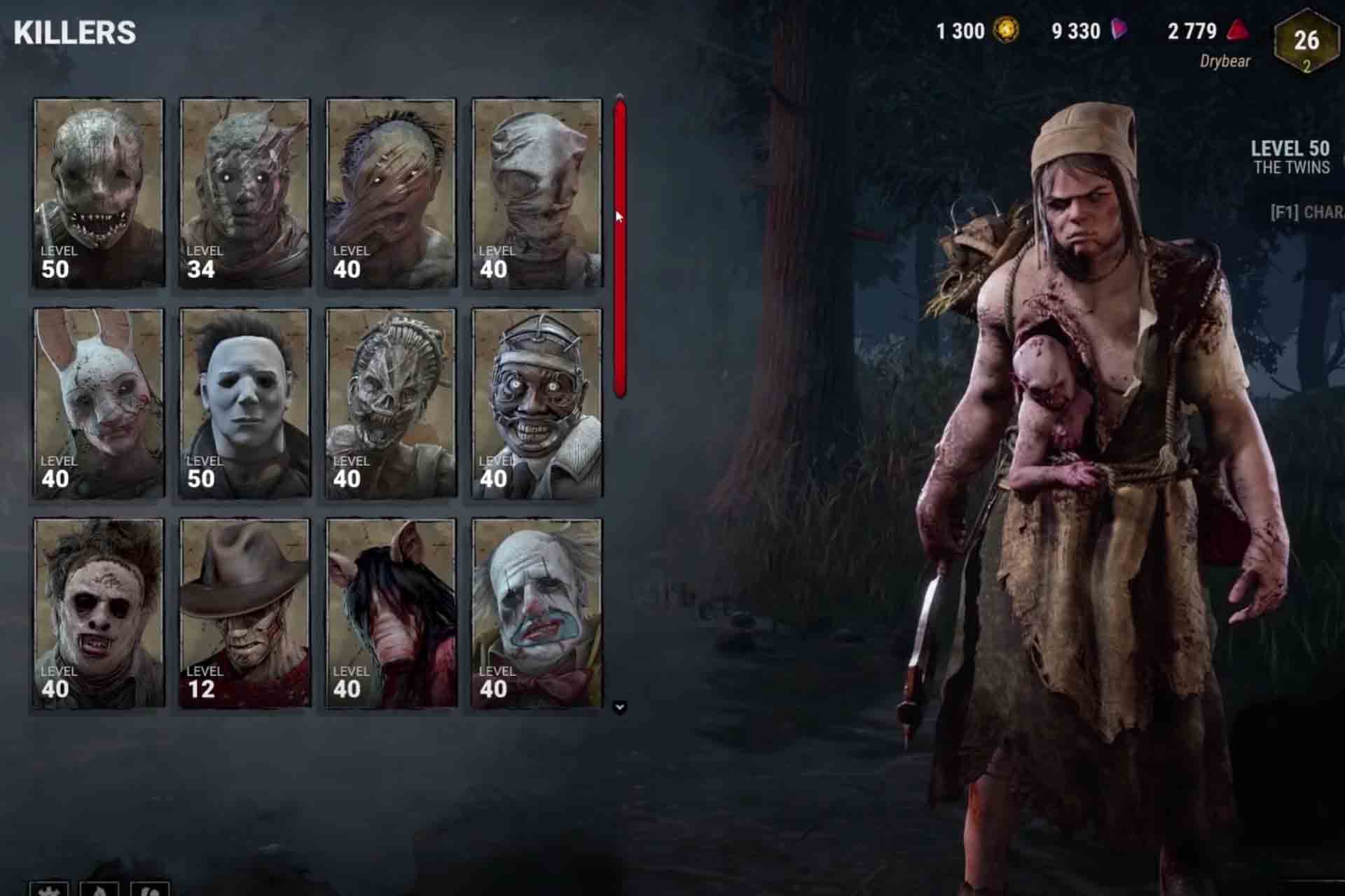 The Killer characters in Dead by Daylight game.