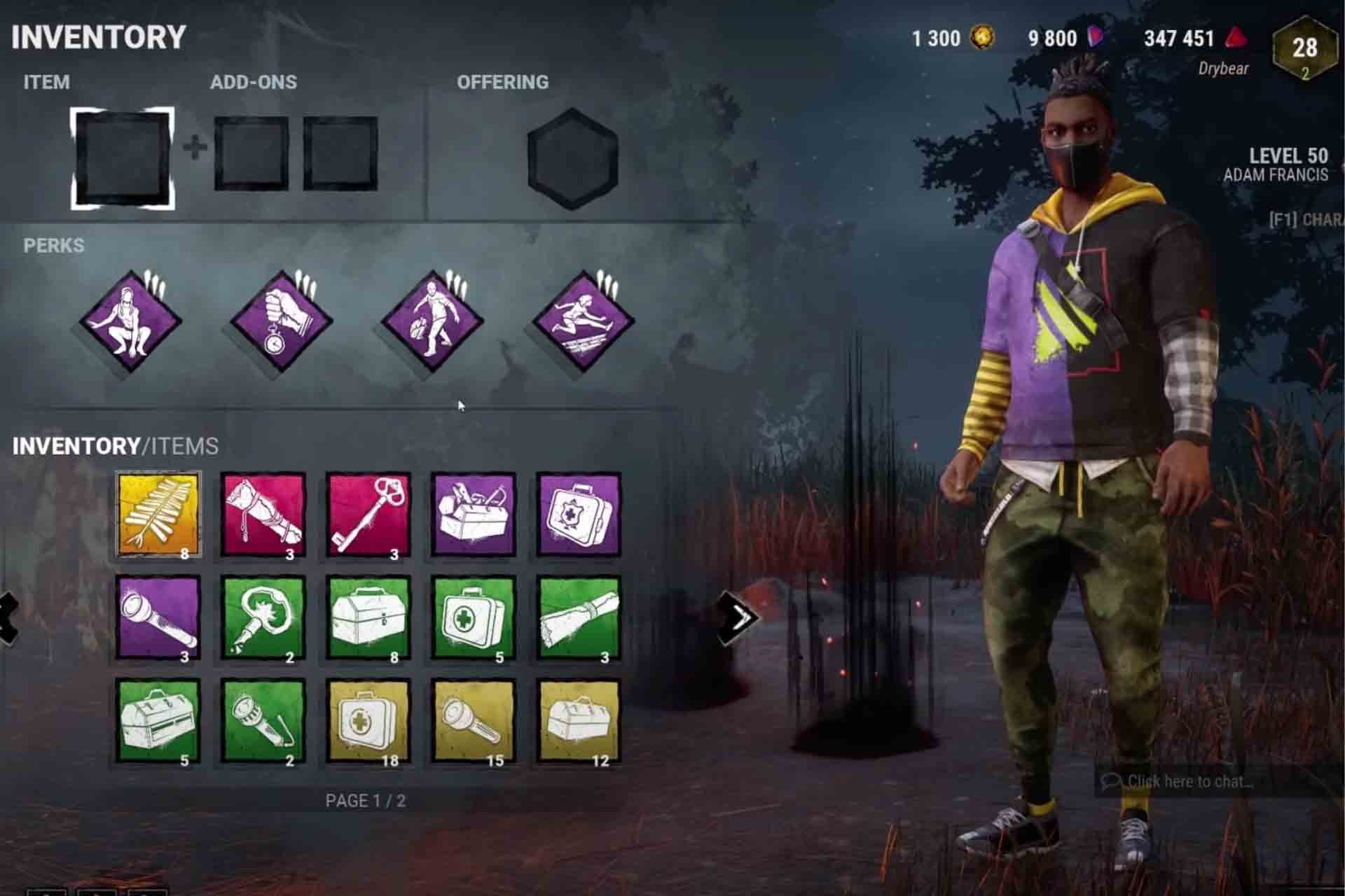 Customisation of the Survivor characters by adding items from the inventory, adding perks and other add-ons.