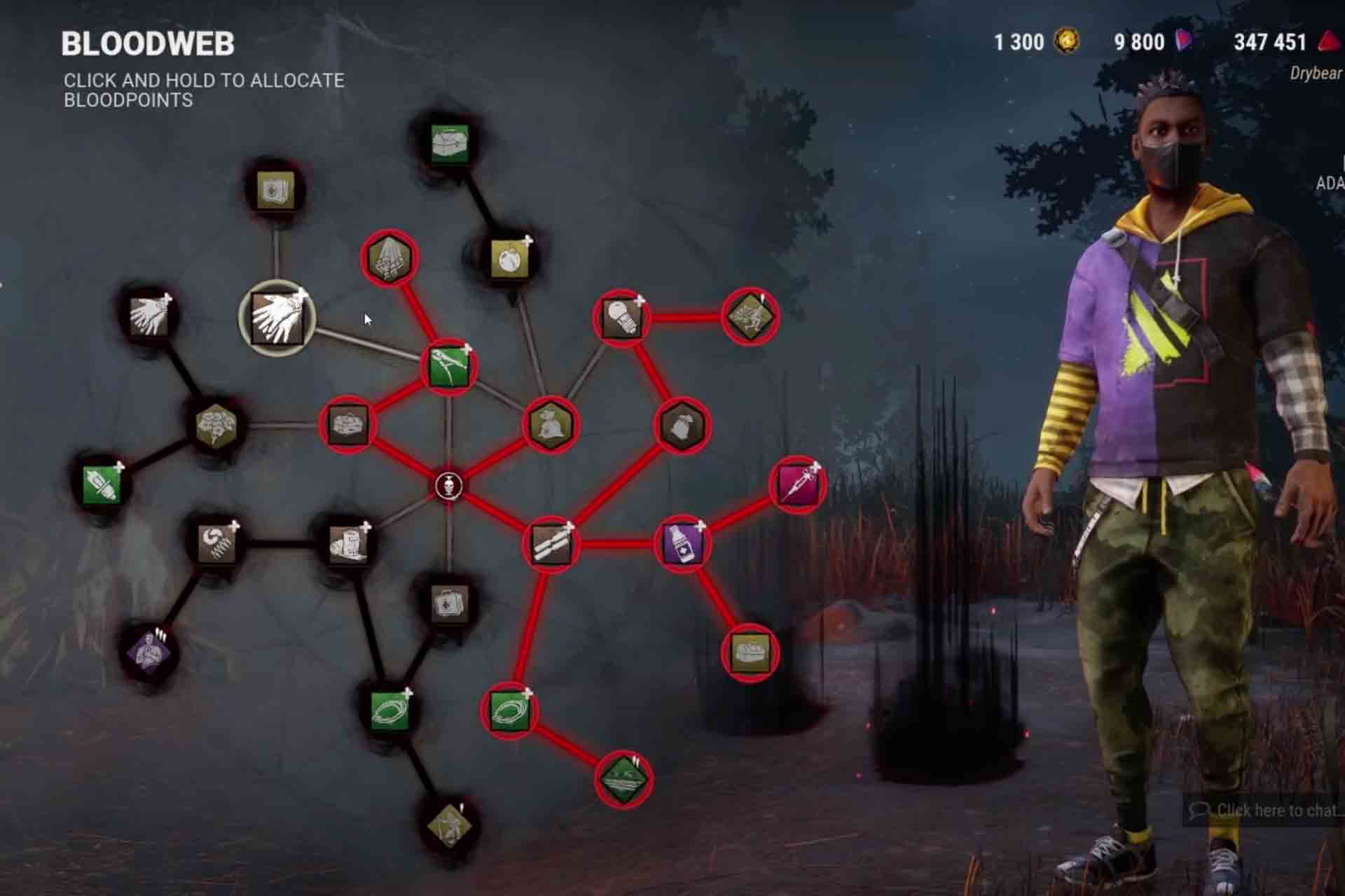 Use Blood points to progress on the Blood Web in Dead by Daylight game.