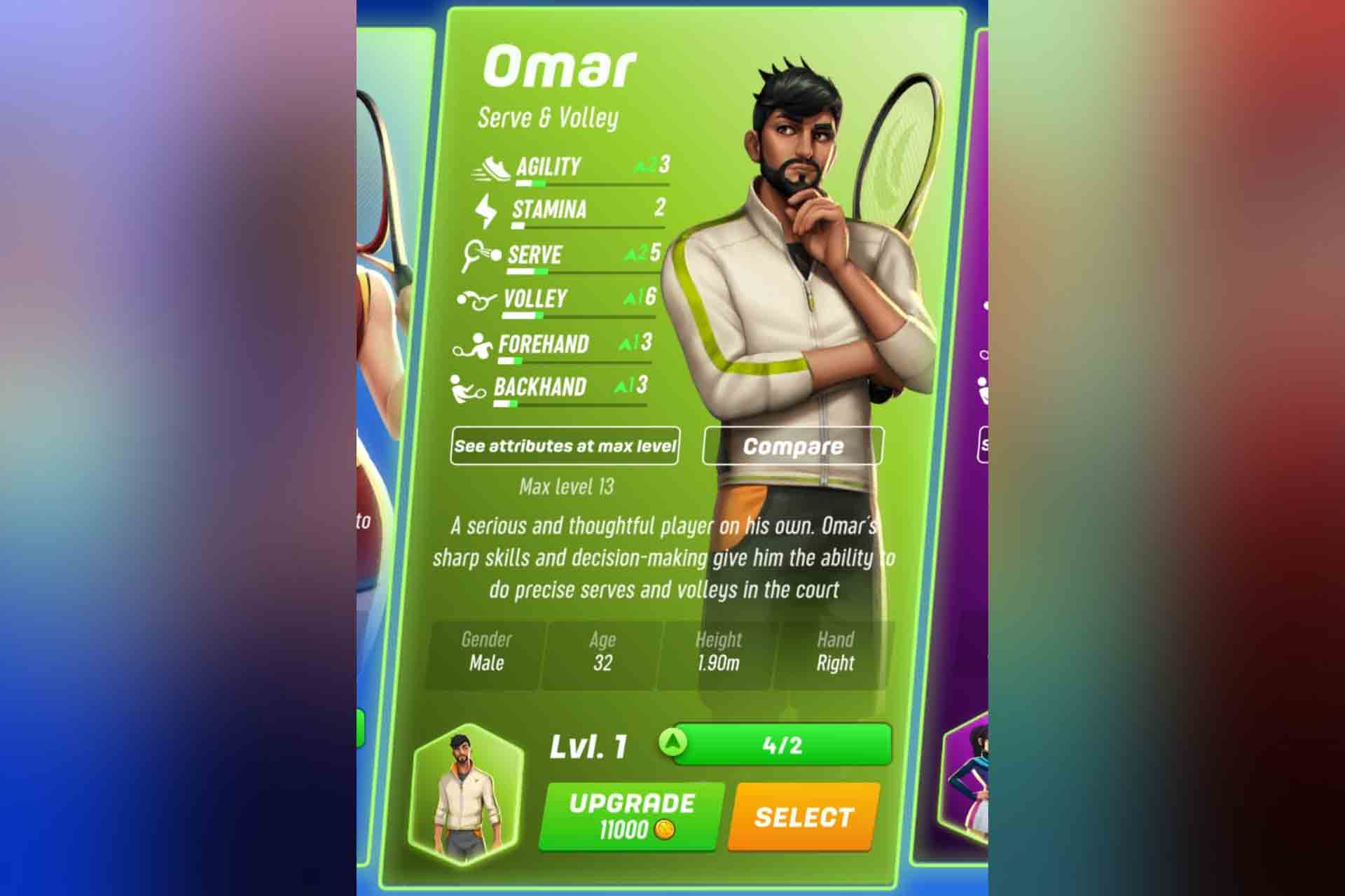 Omar is a character in Tennis clash. His serve and volley skills are his highlight. Omar is a serious and thoughtful player. His sharp skills and quick decision making give him the ability to do precise serves and volleys.