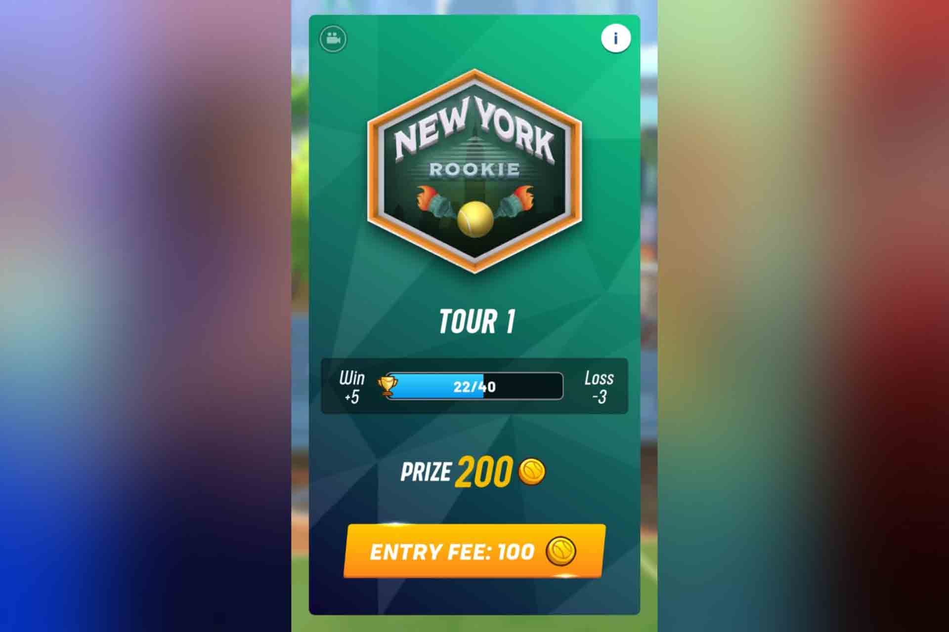 Tour 1 in Tennis Clash is New York.