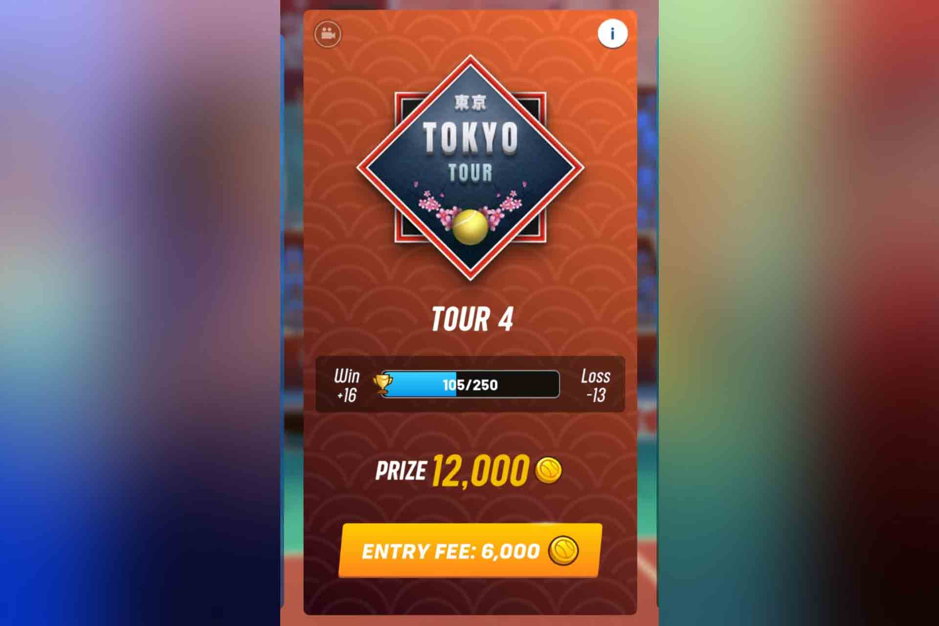 Tour 4 in Tennis Clash is the Tokyo Tour. It unlocks with 150 trophies.