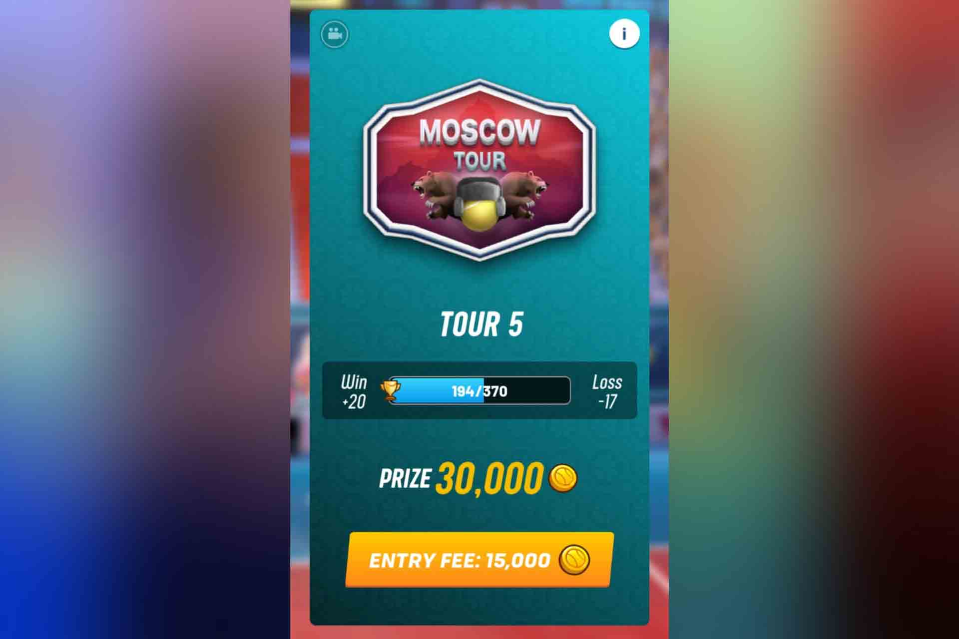 Tour 5 in Tennis Clash is the Moscow Tour. It unlocks with 300 trophies.