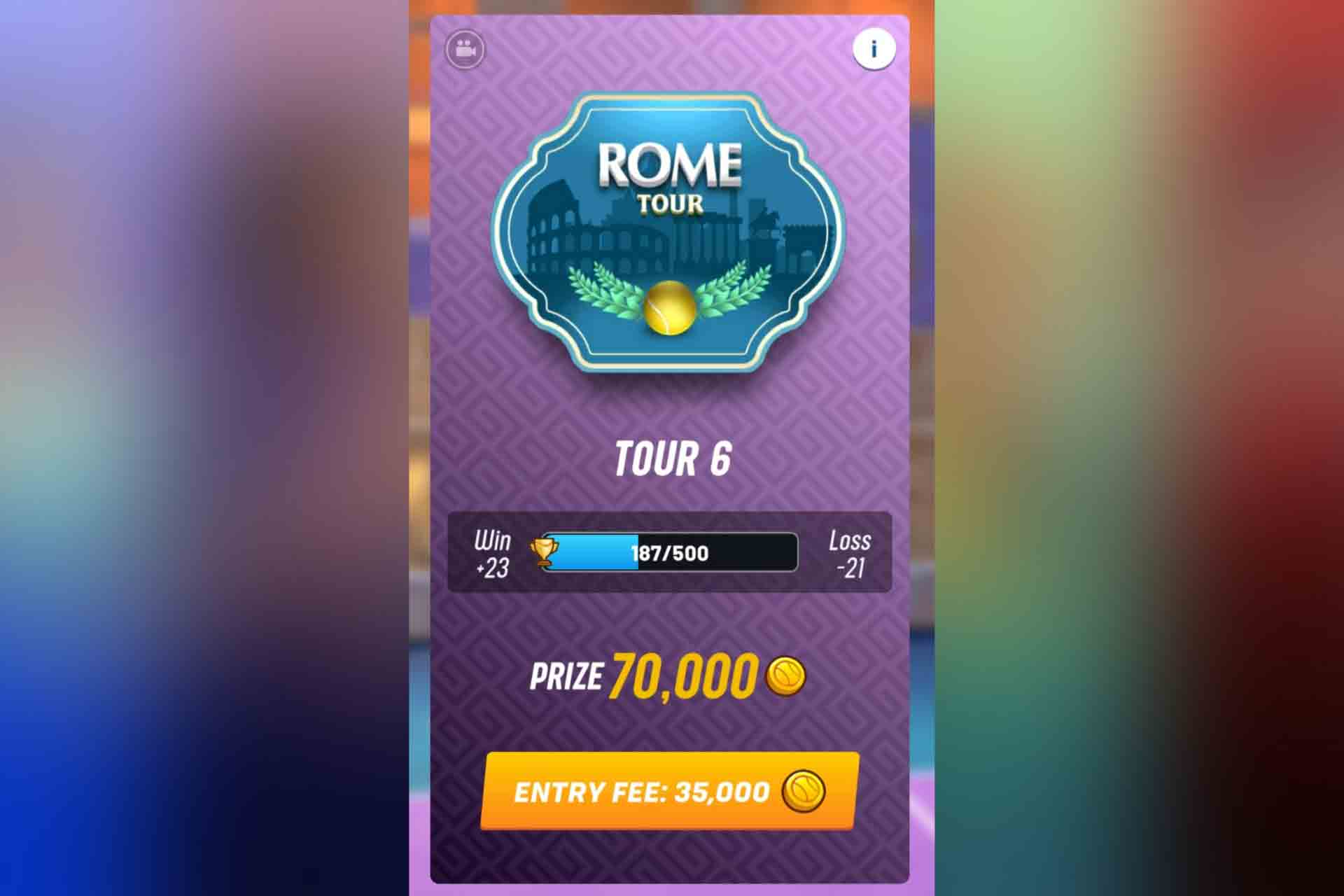 Tour 6 in Tennis Clash is the Rome Tour. It unlocks with 480 trophies.