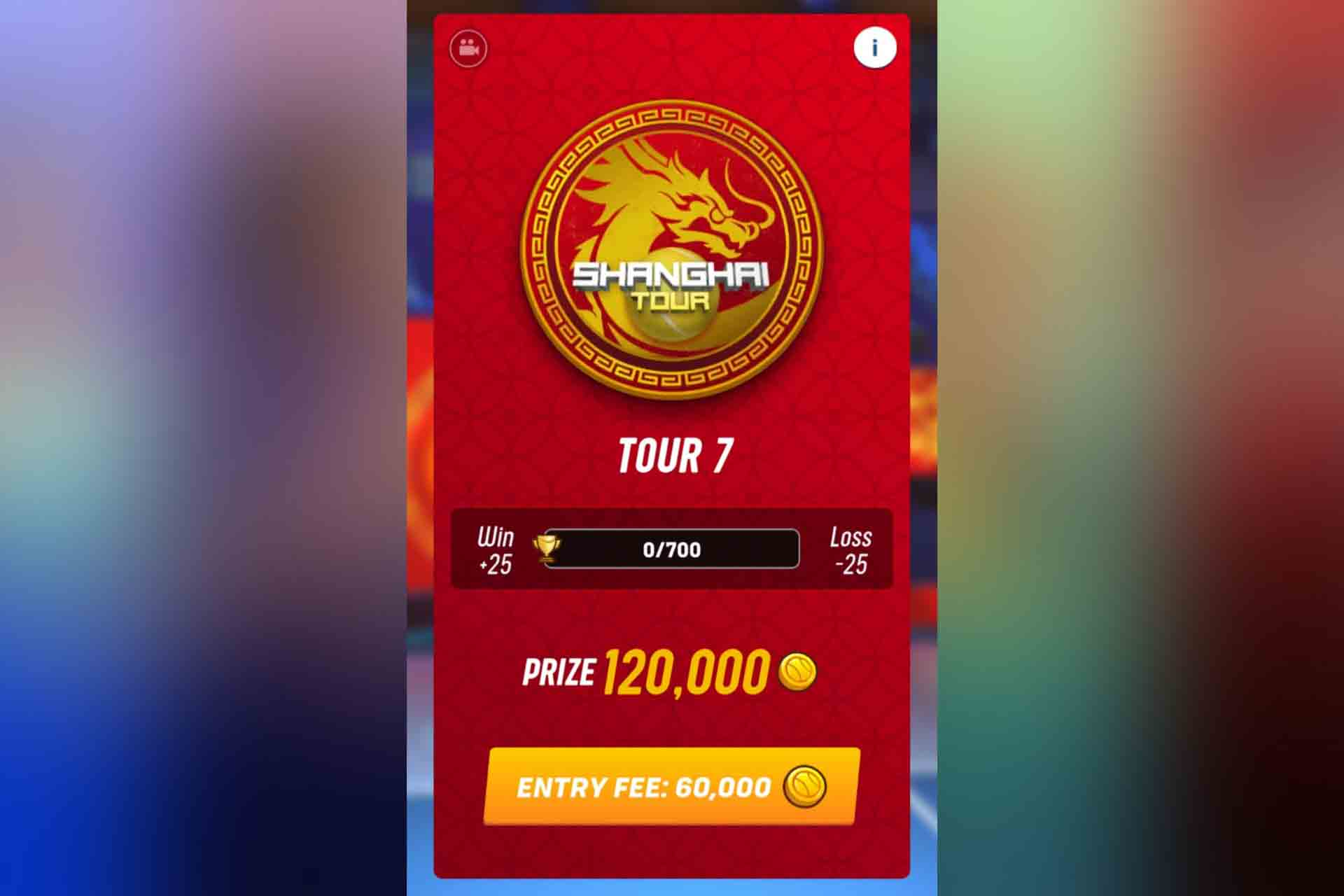 Tour 7 in Tennis Clash is the Shanghai Tour. It unlocks with 680 trophies.