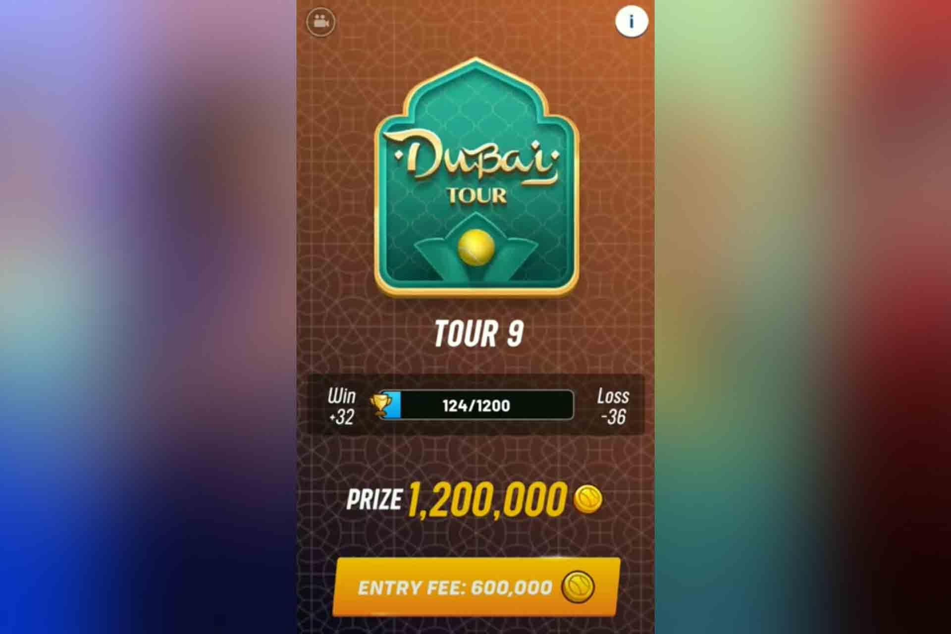 Tour 9 in Tennis Clash is in Dubai. It unlocks with 2100 trophies.