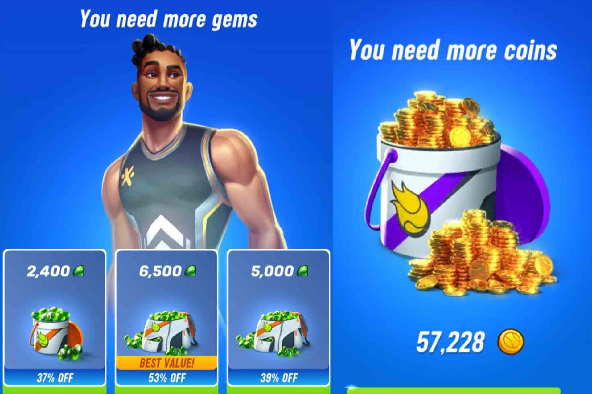 Get more Gems and Coins in Tennis Clash game to unlock bags and to easily upgrade cards and characters.
