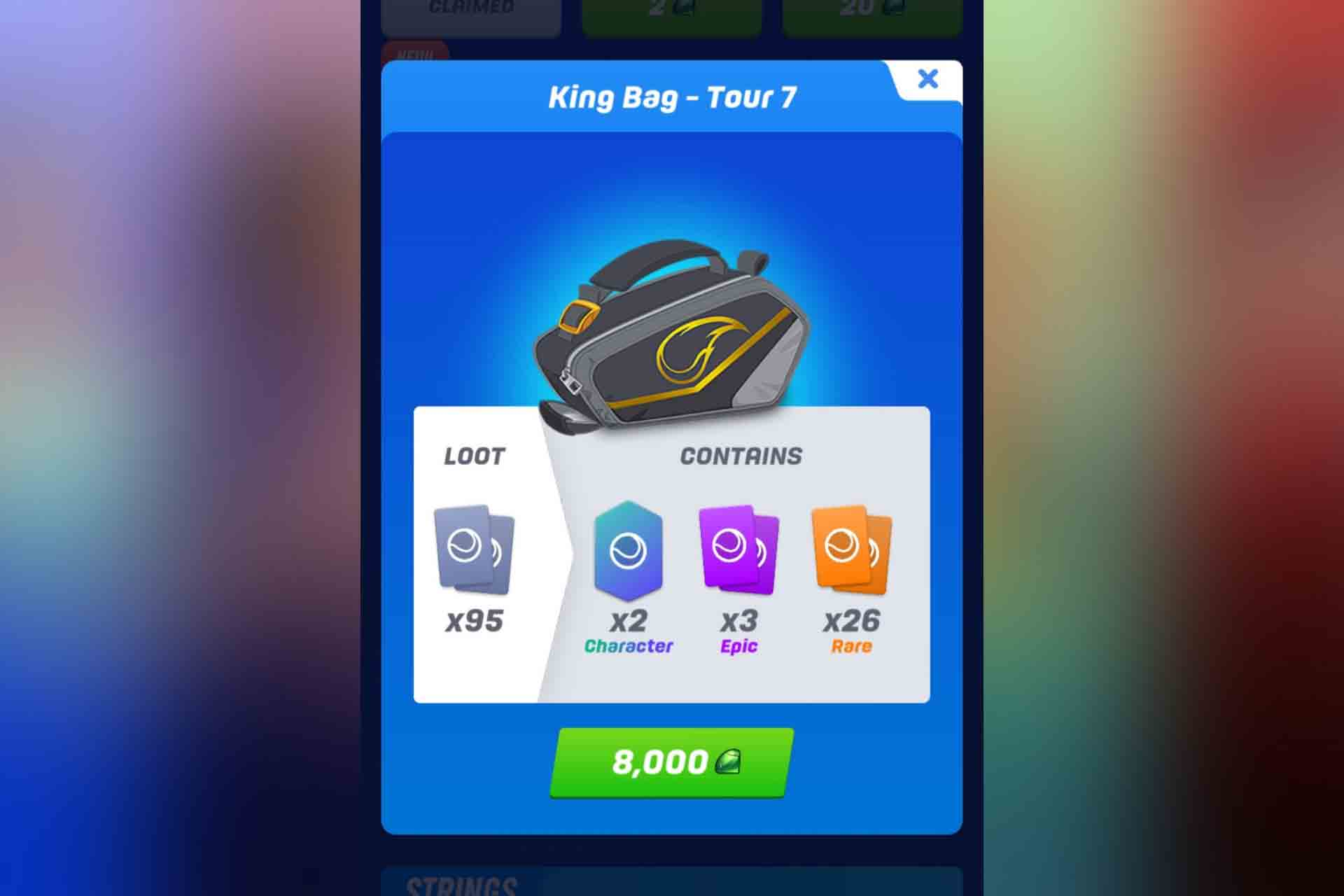 The King Bag in Tennis Clash game.