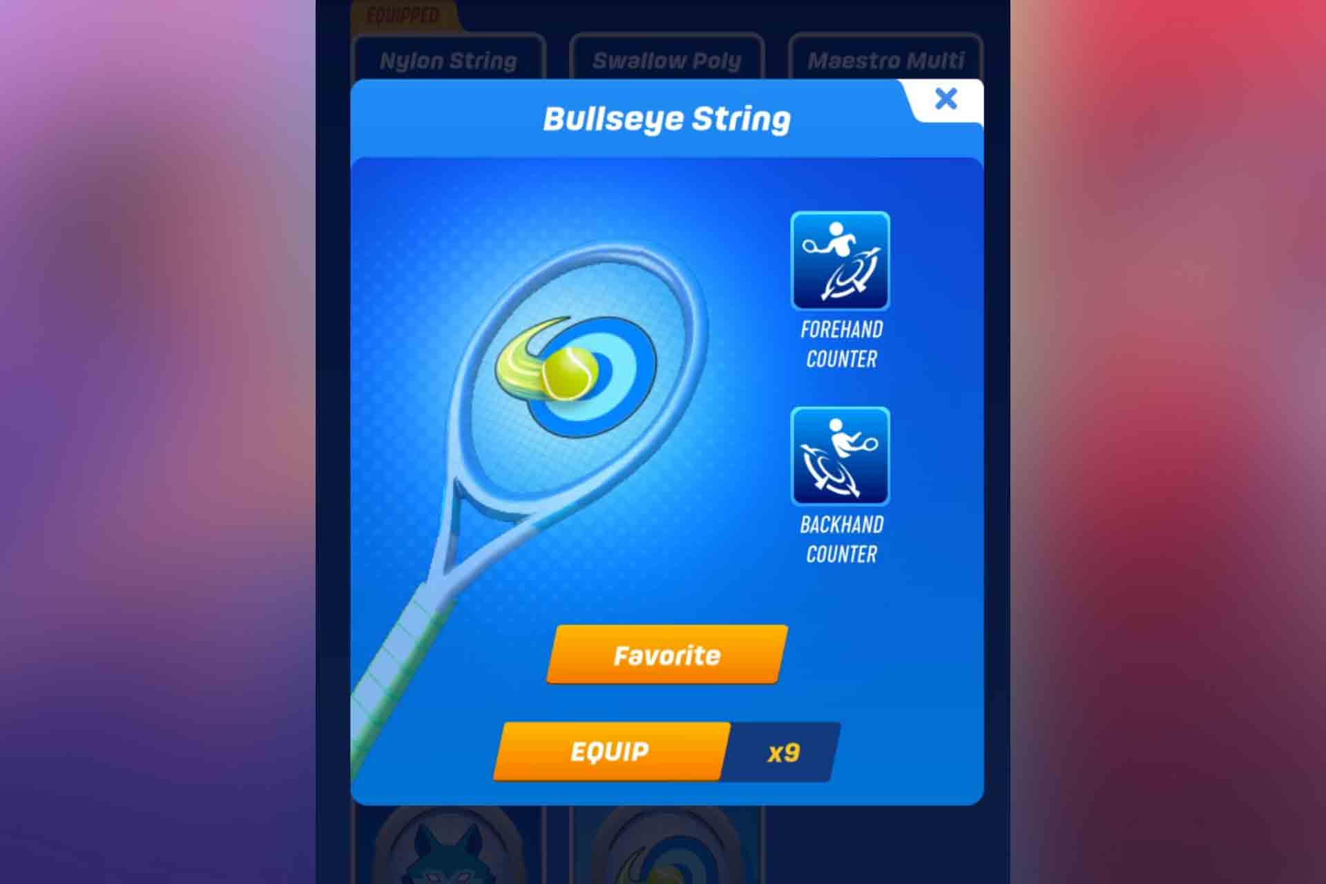 BullsEye String in Tennis Clash. It is a special type of string that is won after winning the weekly Bulls Eye challenge.