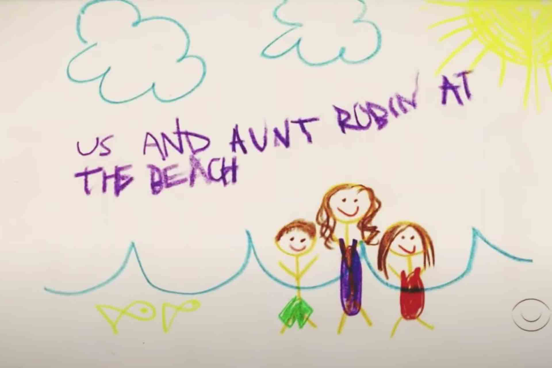 Ted's kids drawing with Robin at the beach.