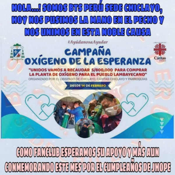 """Image from BTS Perú Sede Chiclayo's Facebook page / [Image translation: Hello … ! We are BTS Perú site Chiclayo