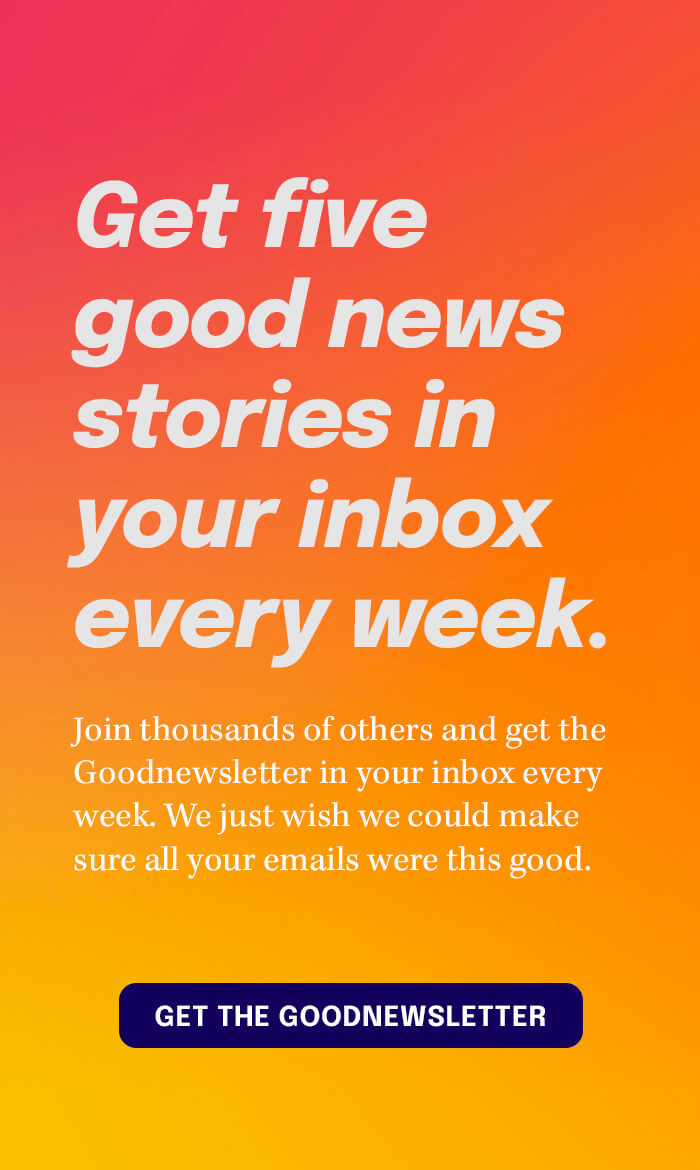 Get five good news stories in your inbox every week — Subscribe to the Goodnewsletter