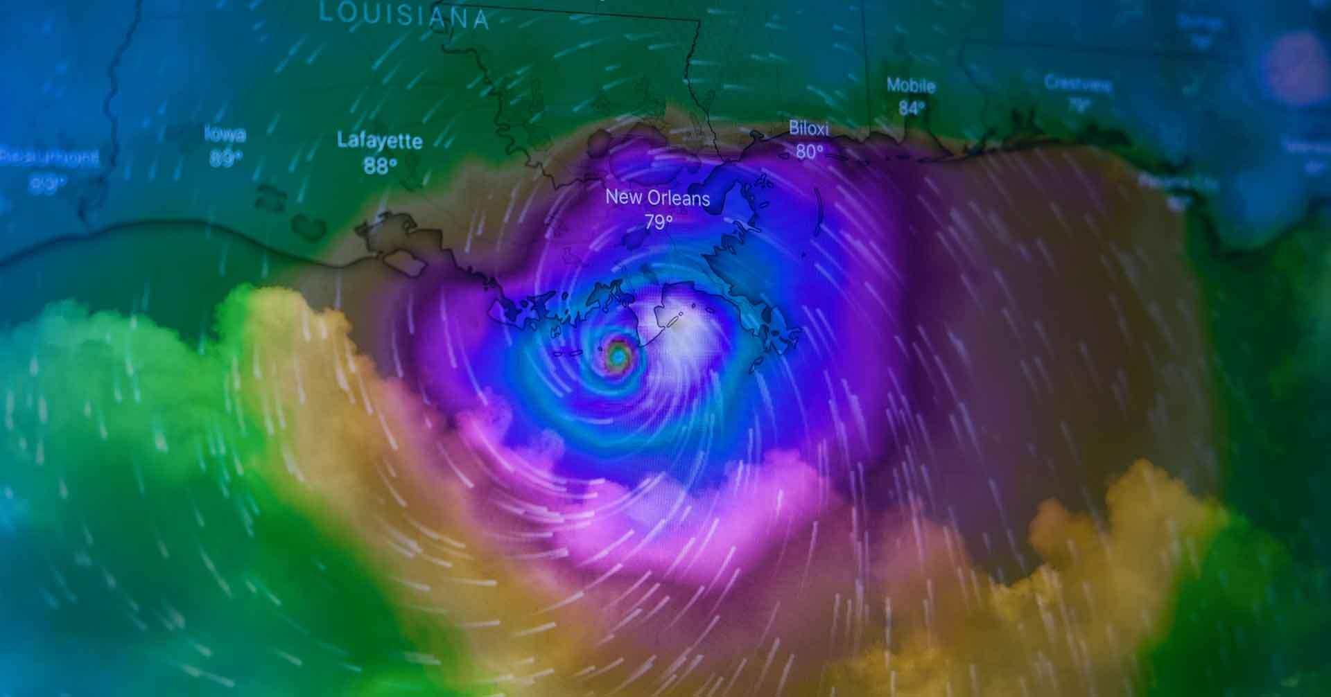 Rainbow colored radar of a hurricane over Louisiana