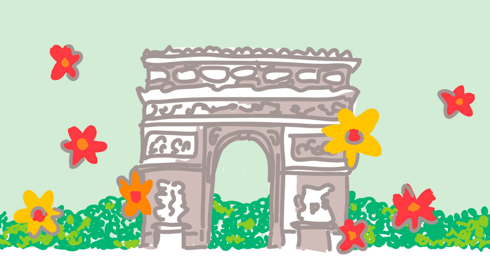 Illustrated Champs-Élysées surrounded by flowers and greenery