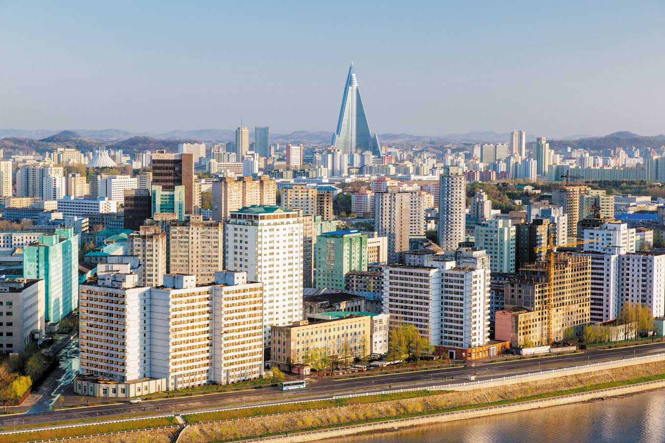 Colorful view of the skyline of Pyongyang North Korea