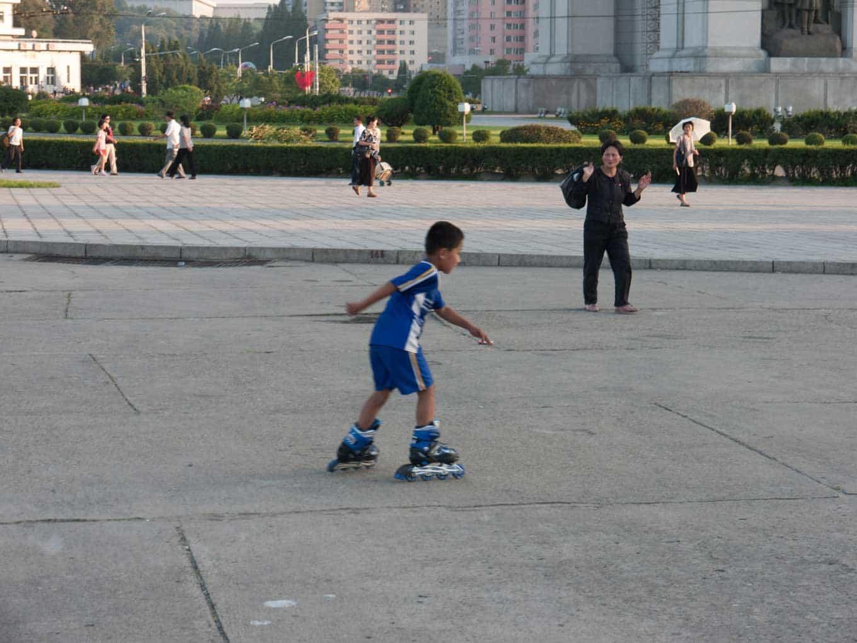 Child rollerblading in North Korea - Pyongyang