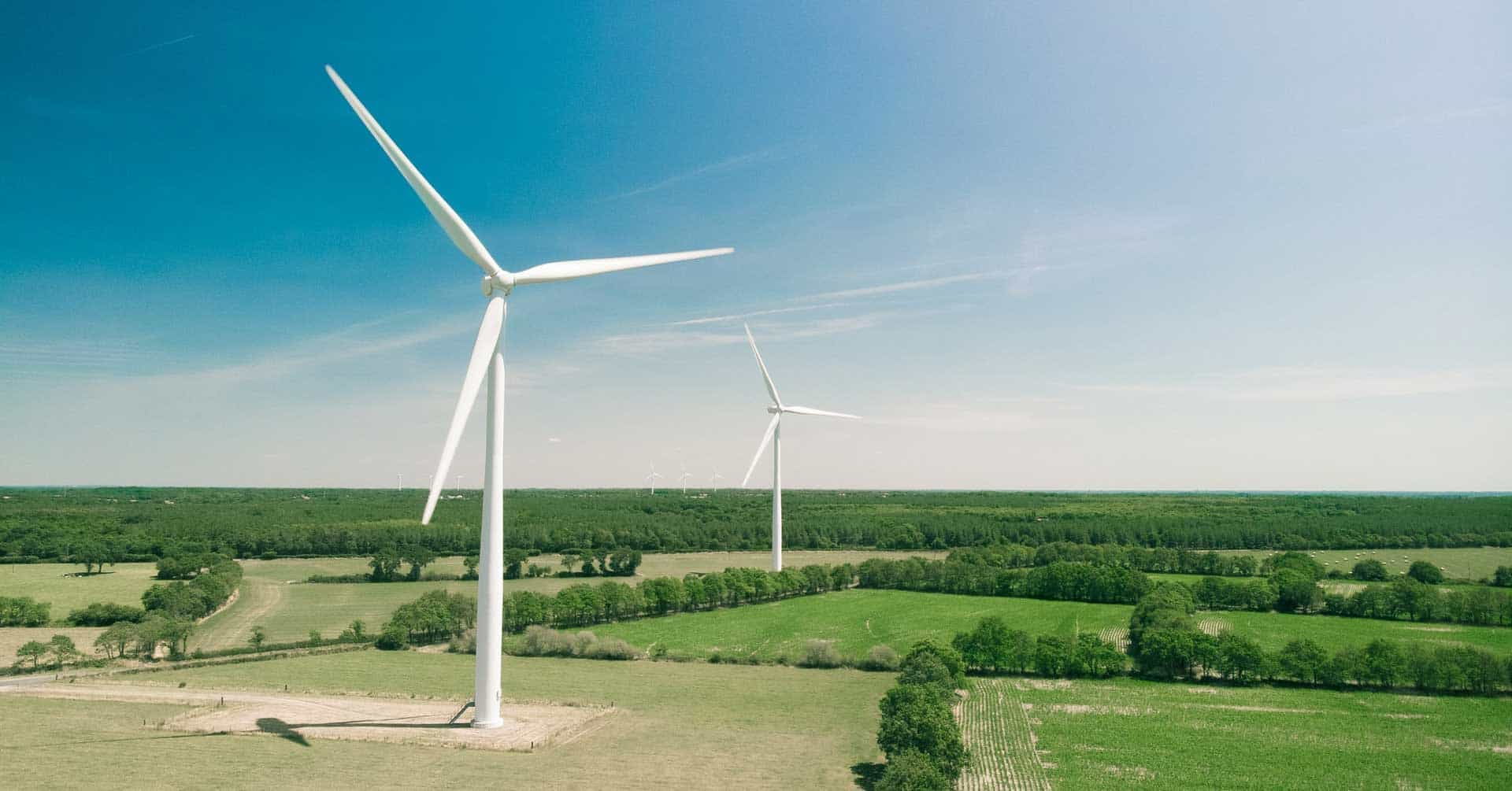 Two wind turbines stand in a colorful green field on a sunny day