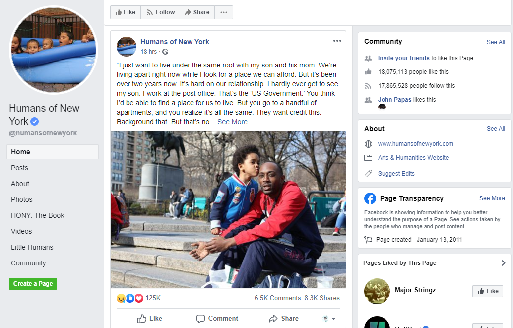 Humans of New York Facebook page