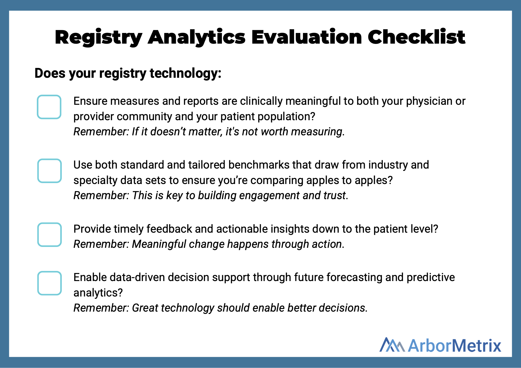 Registry Analytics Evaluation Checklist