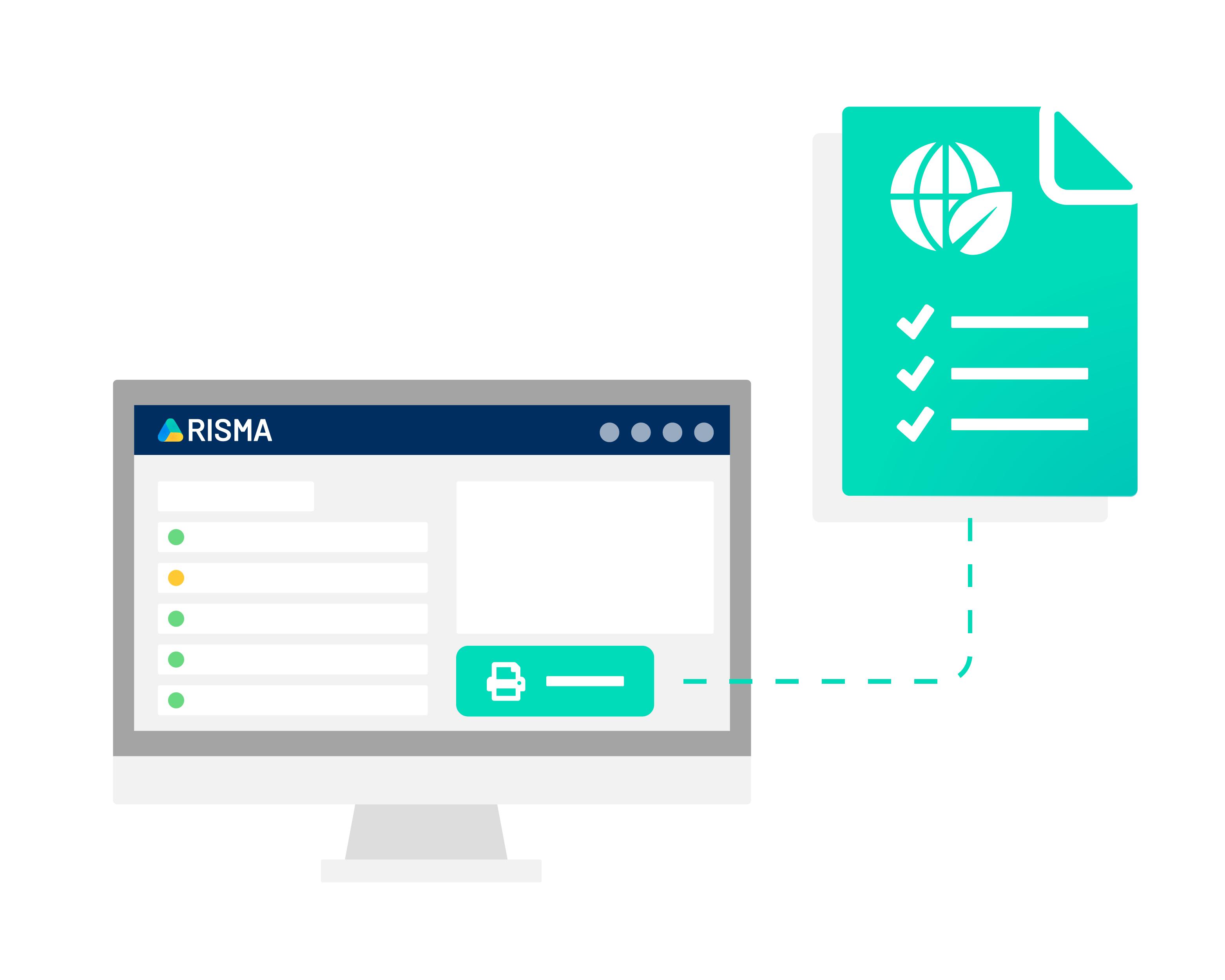 Skærmbillede der viser hurtig adgang til dokumentation i RISMAs ESG-løsning.