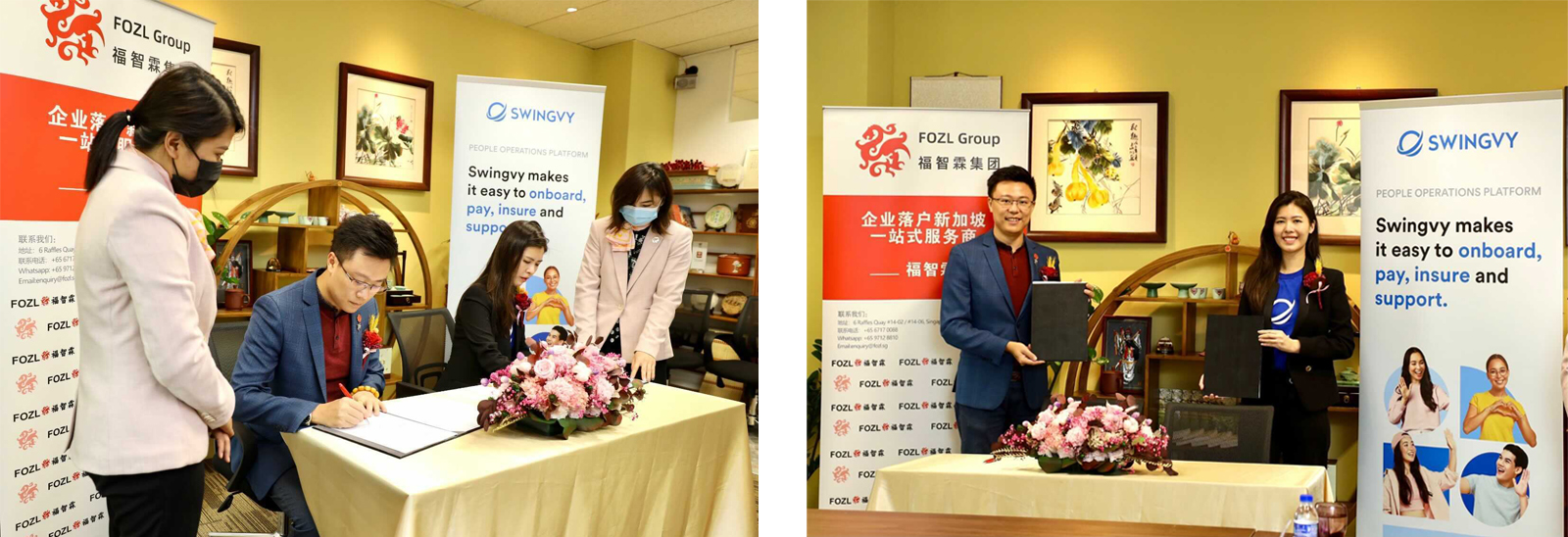 Huang Zelin and Charisse Lee sign the partnership agreement on behalf of their respective companies.