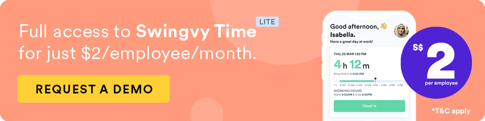 Swingvy Time Launch Promotion. $2 per employee.