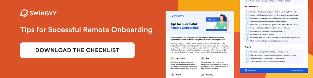 Swingvy's tips for successful remote onboarding. Download the checklist.