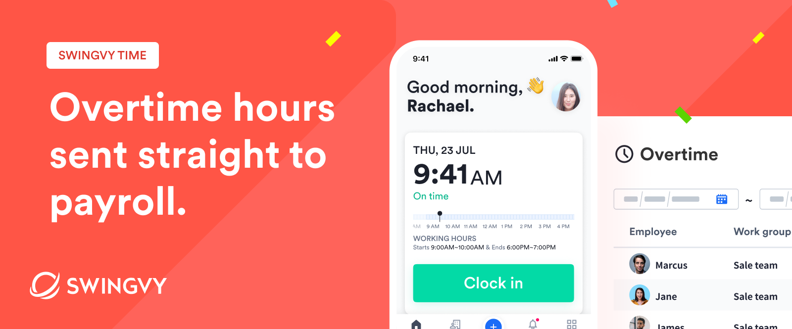 Swingvy Time | Send overtime hours straight to payroll