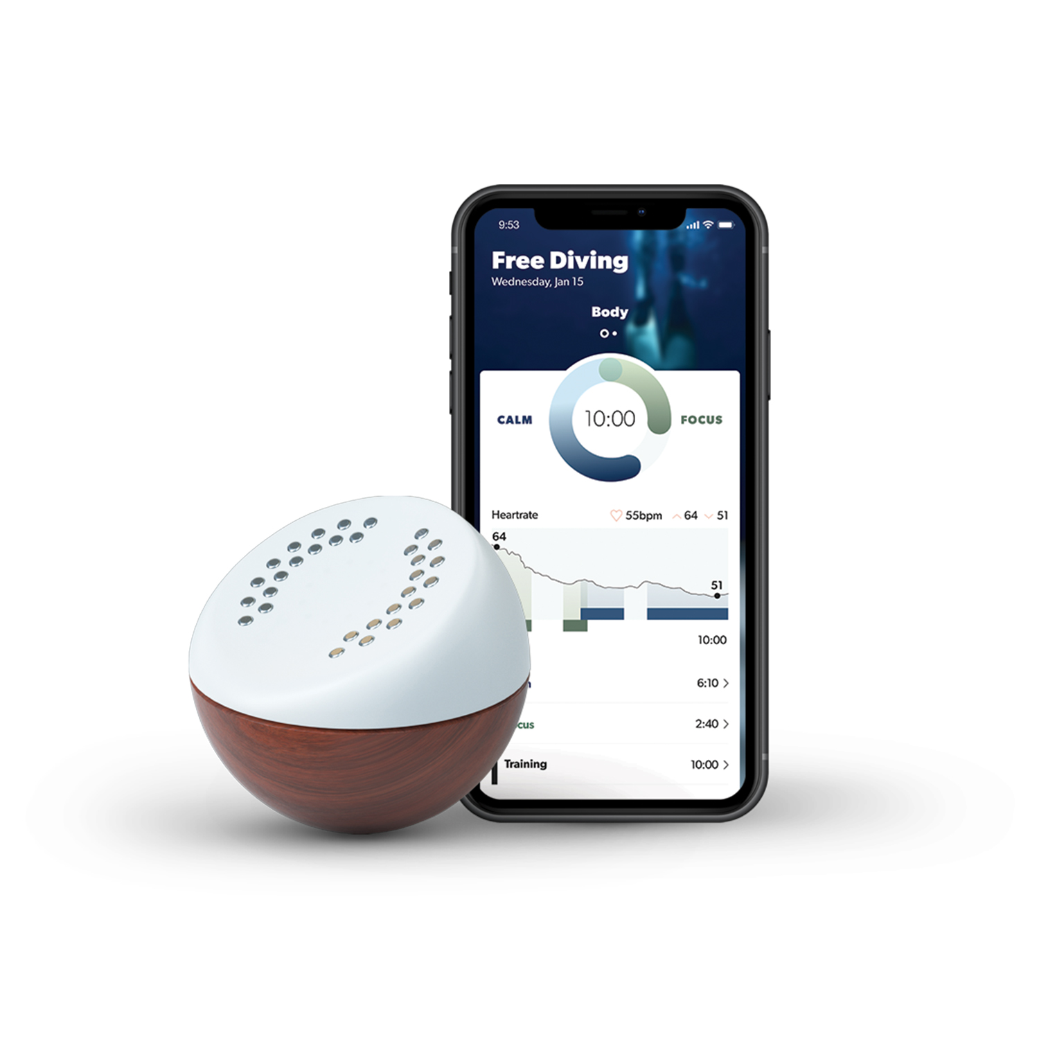 Core meditation trainer in charging dock