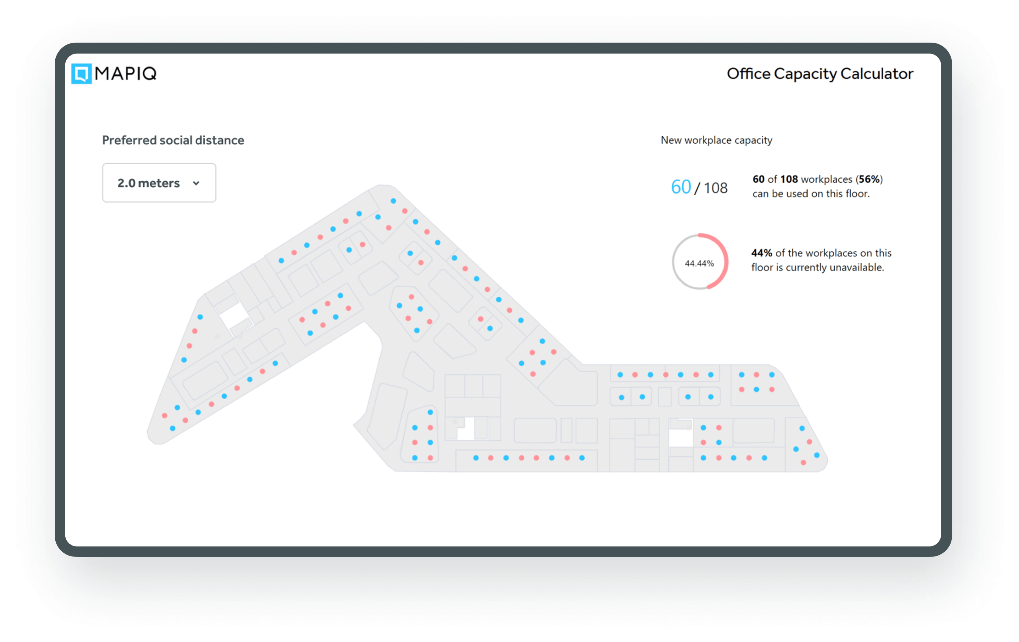 With our office capacity calculator, you can determine workplace capacity, assign desks and save valuable work-time.