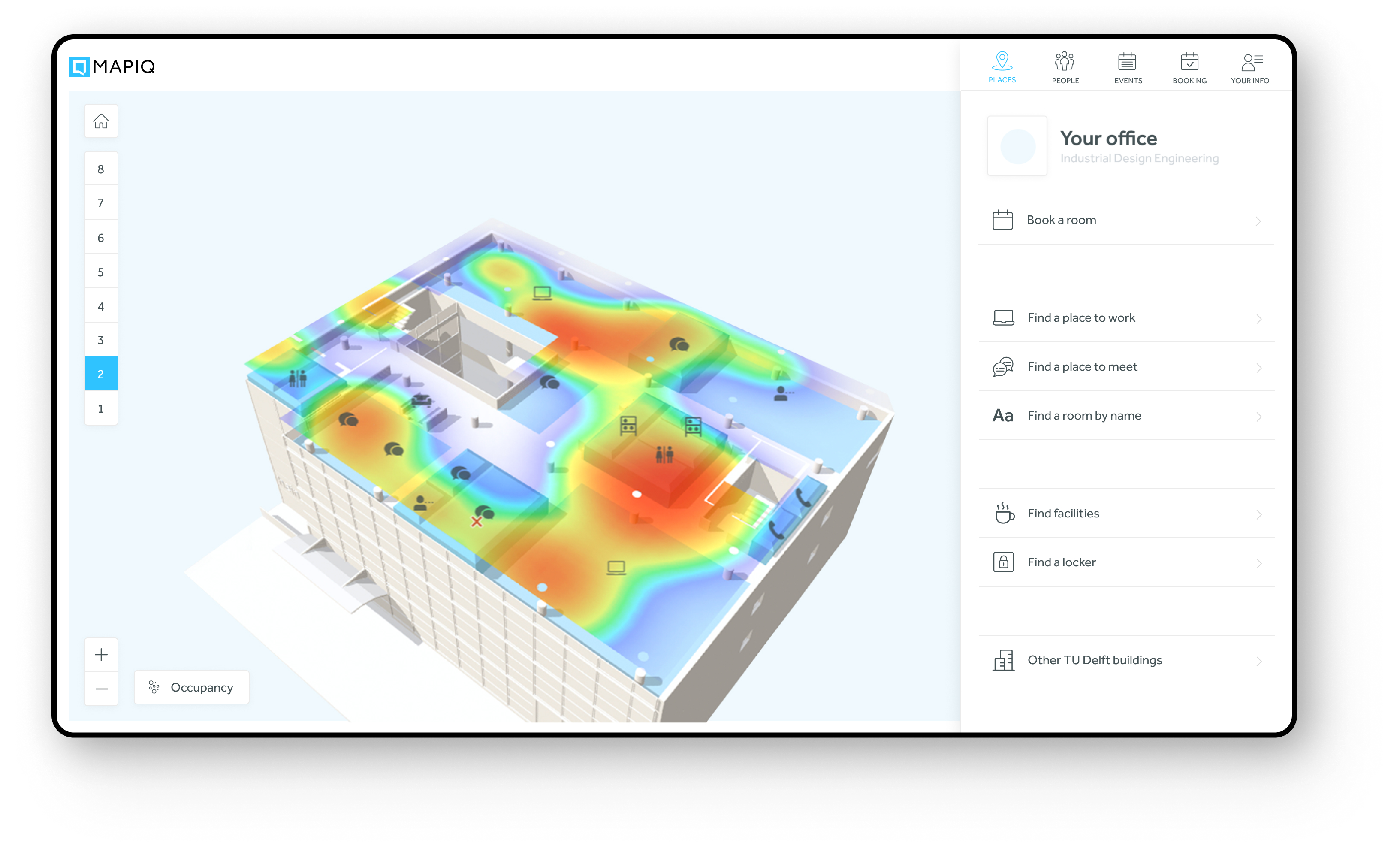 Say goodbye to your office's overcrowded areas, visualize in real-time how employees are using the office and make informed real-estate decisions.