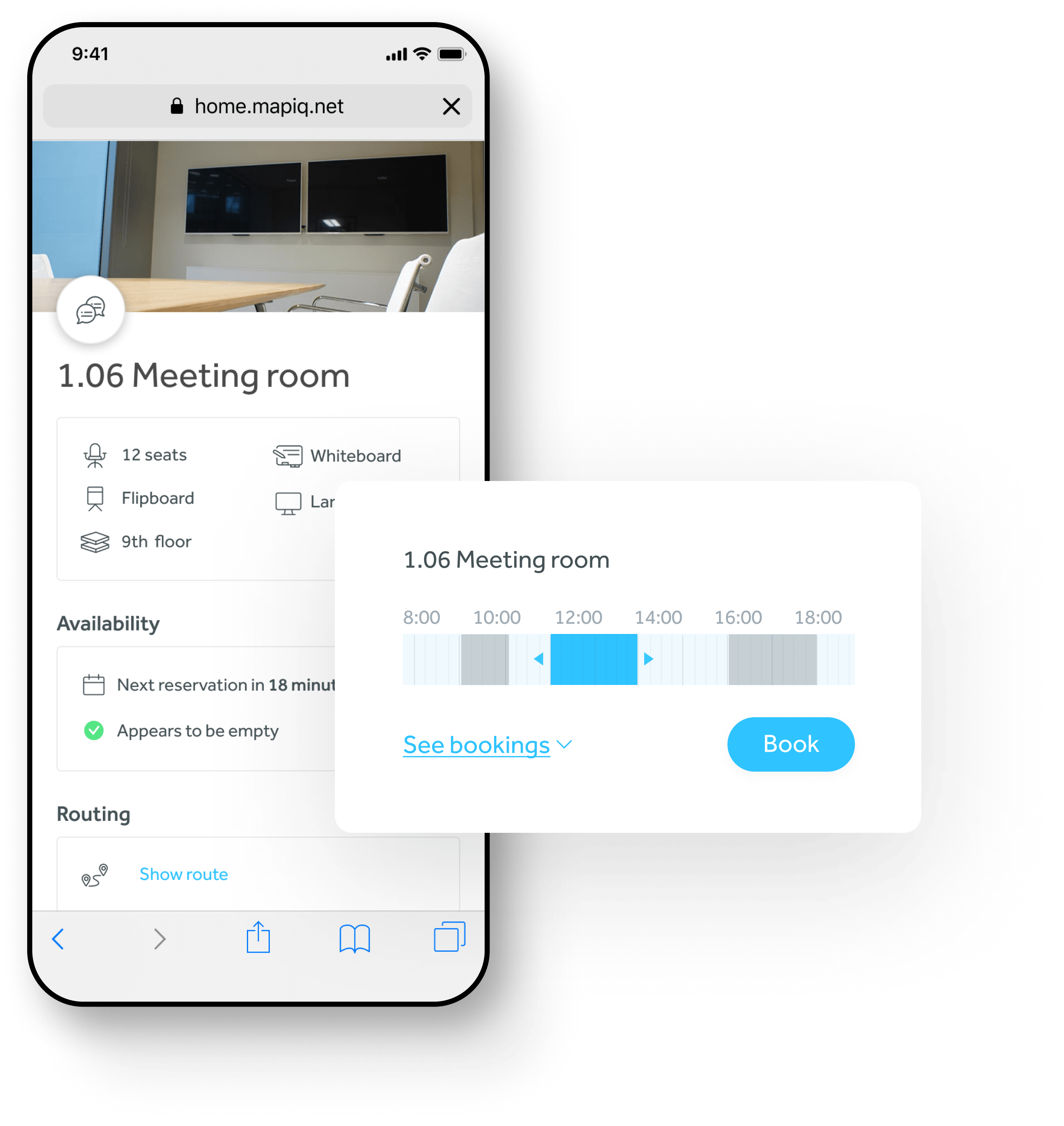 Book flexible workspaces with Mapiq app
