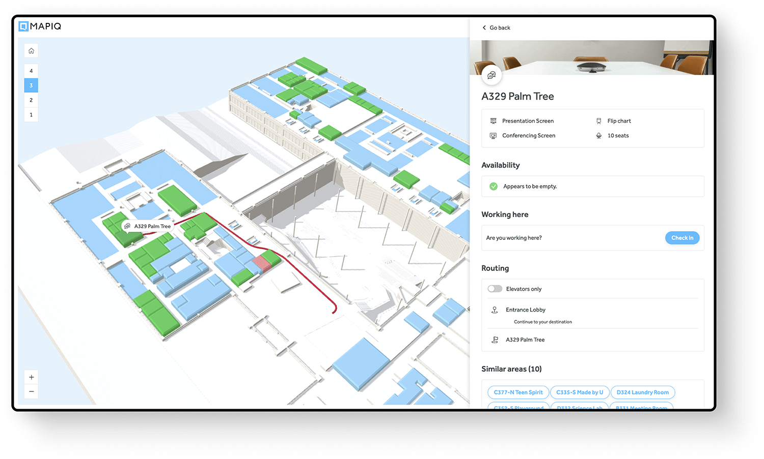 Visualize office floor plans in Mapiq's dashboard.