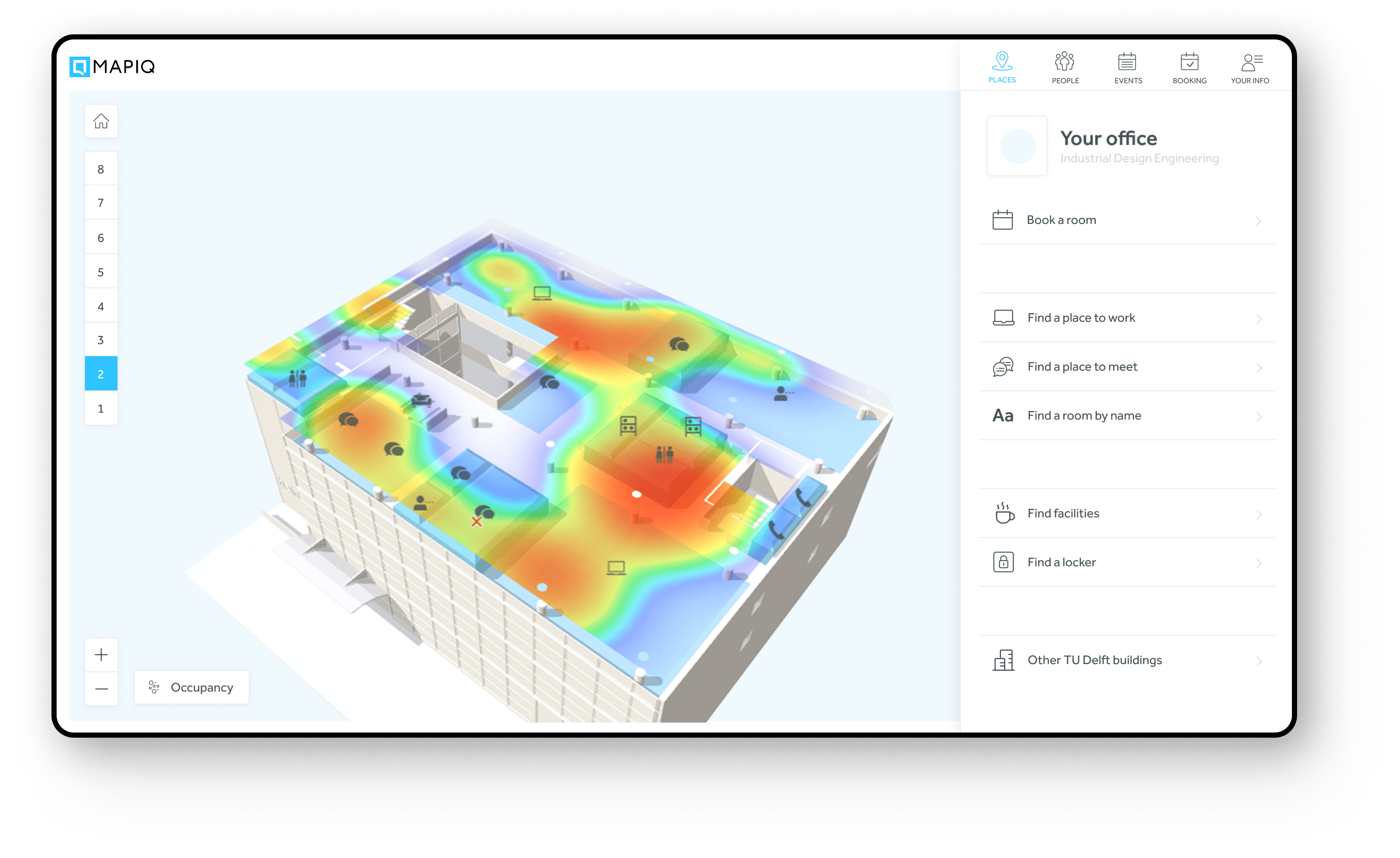 The occupancy heatmap visualizes all busy areas within the office space.
