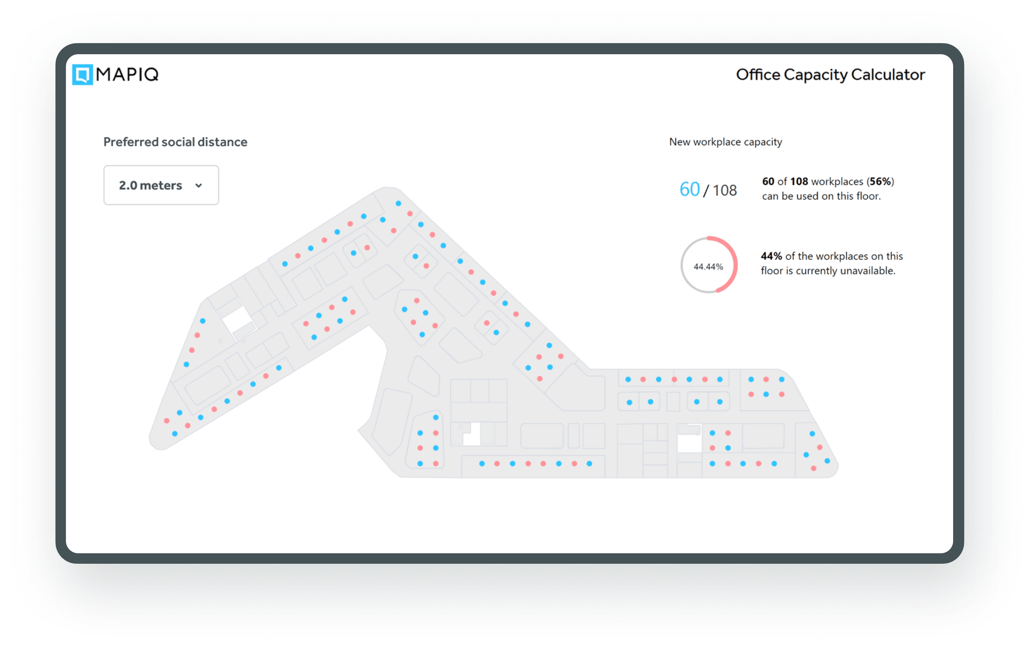 Office capacity calculator for a safe workplace