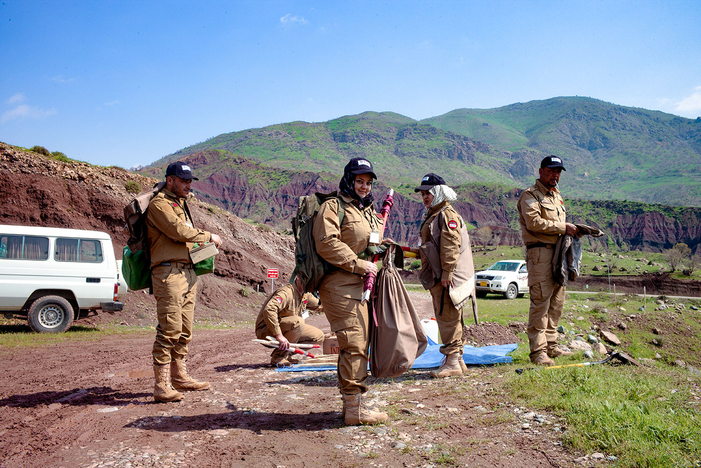 Female deminers in the field
