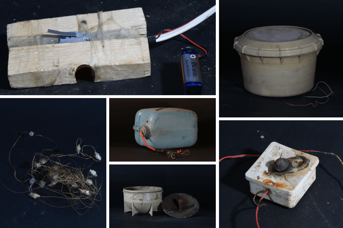 A collage of 6 pictures of improvised explosive devices (IEDs)