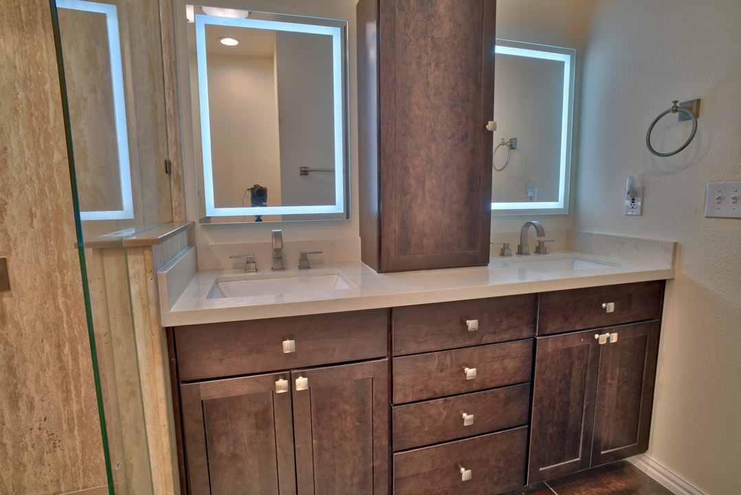Another great way to update the look and feel of your bathroom is by replacing the vanities and vanity tops.