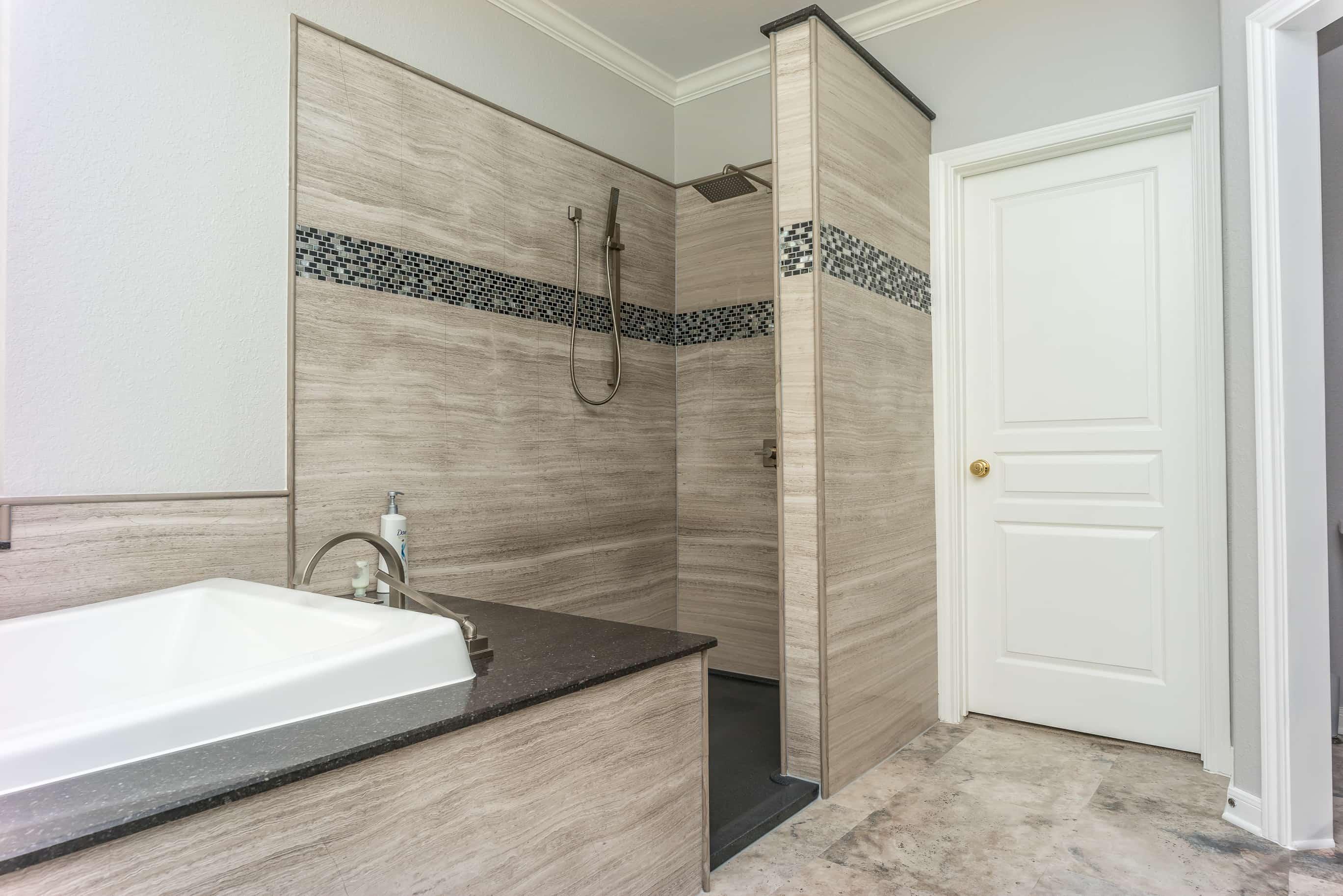 Teakwood Vein Cut Natural Stone Shower
