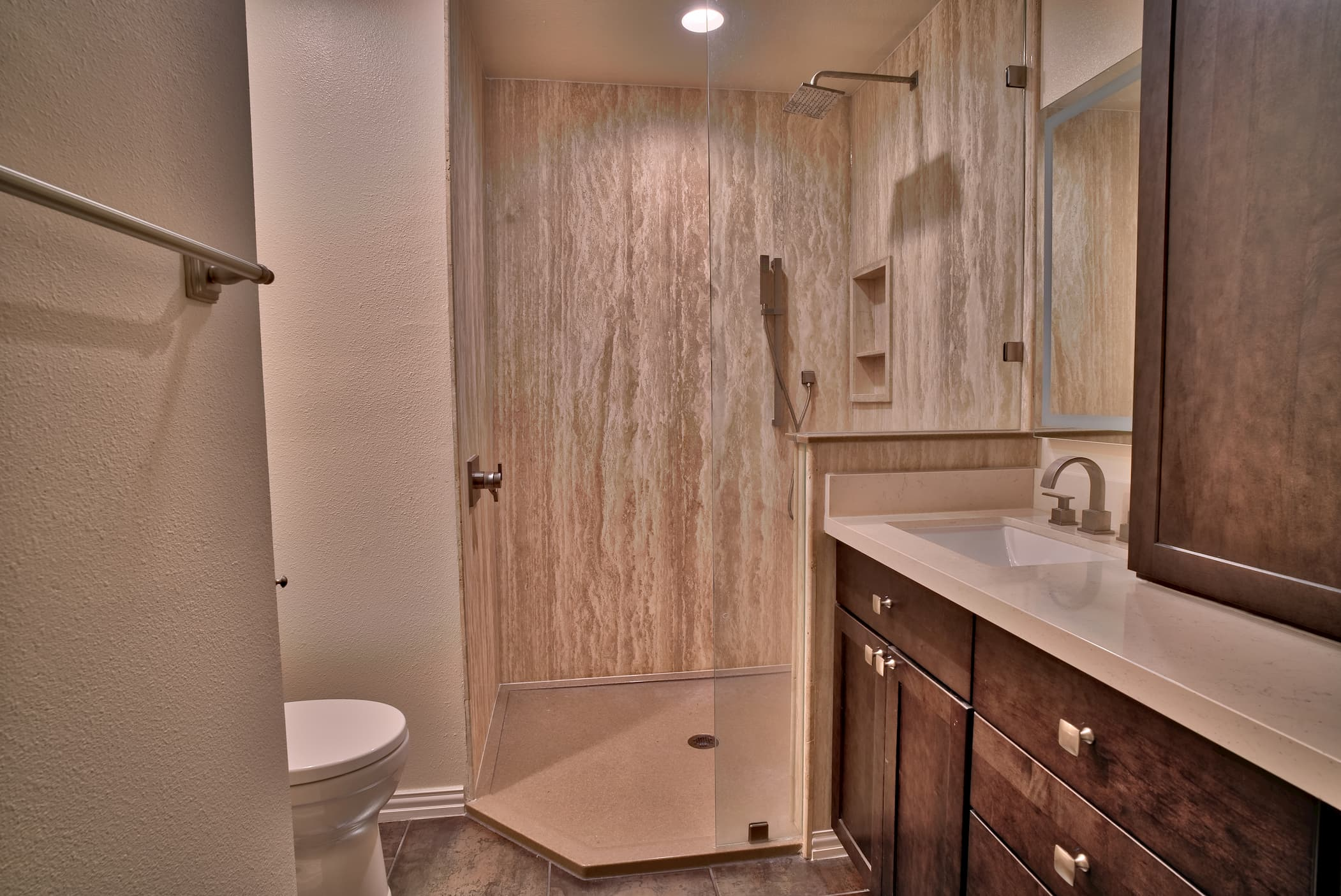 Ivory Veincut Travertine Tub To Shower Conversion
