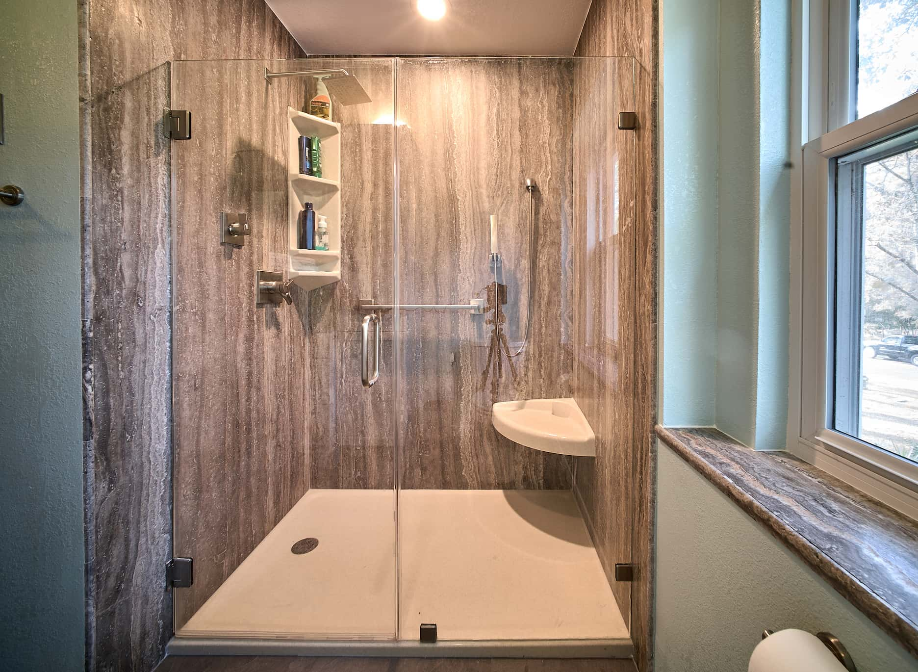 Tub To Shower Conversion Using Silver Veincut Travertine