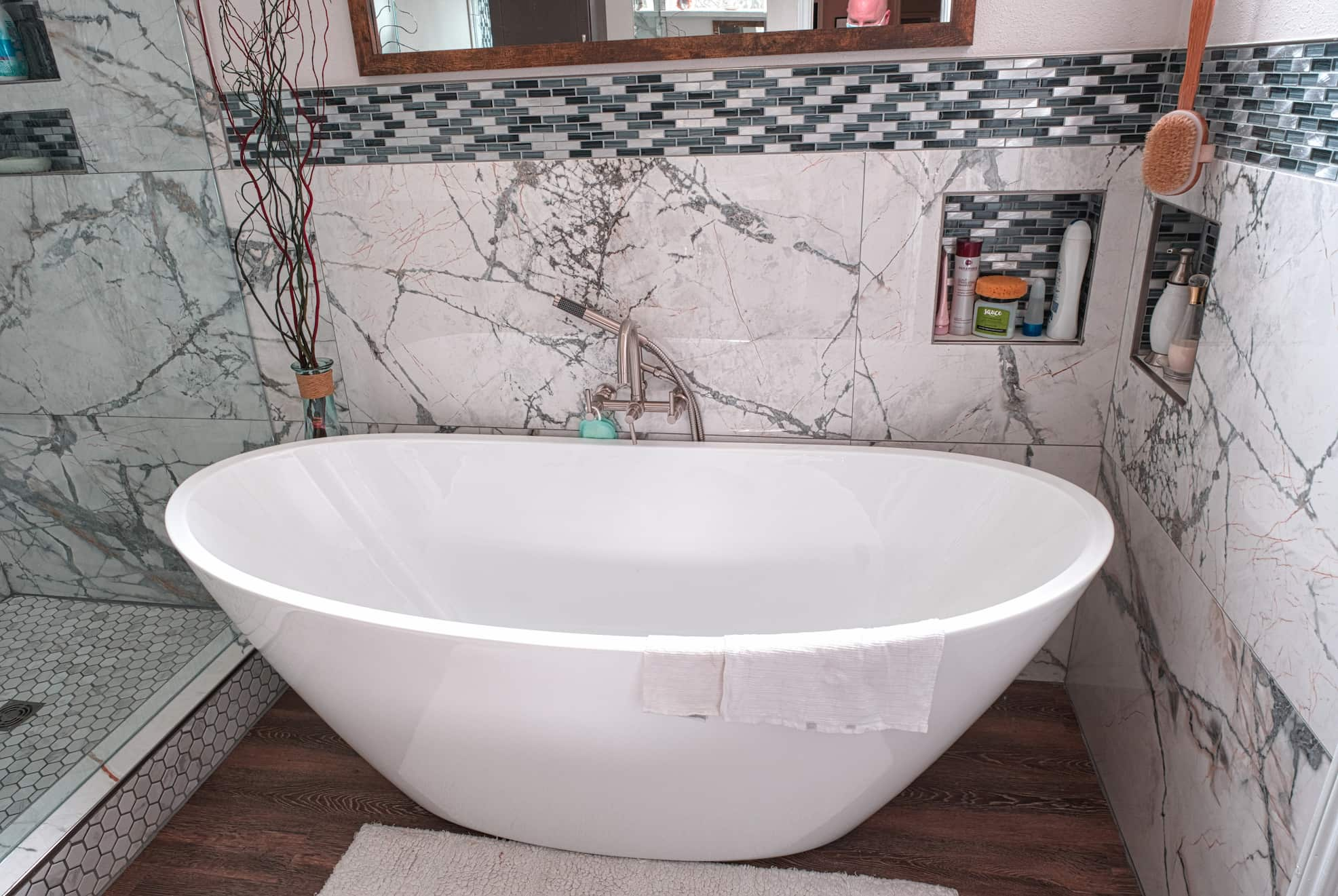 Freestanding Tub Remodel With Wall Mounted Tub Filler