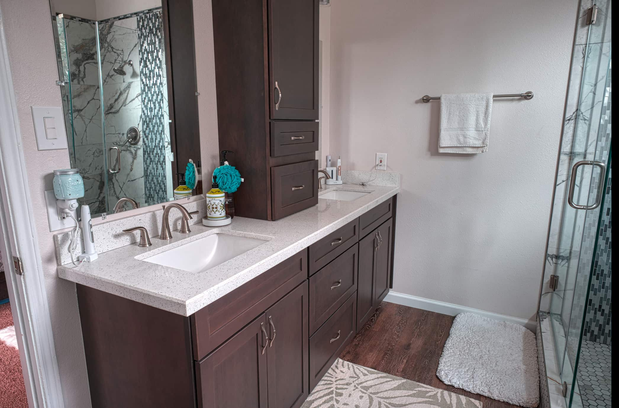 New Cabinet Remodel and Vanity Top Using Quartz with Undermount sinks