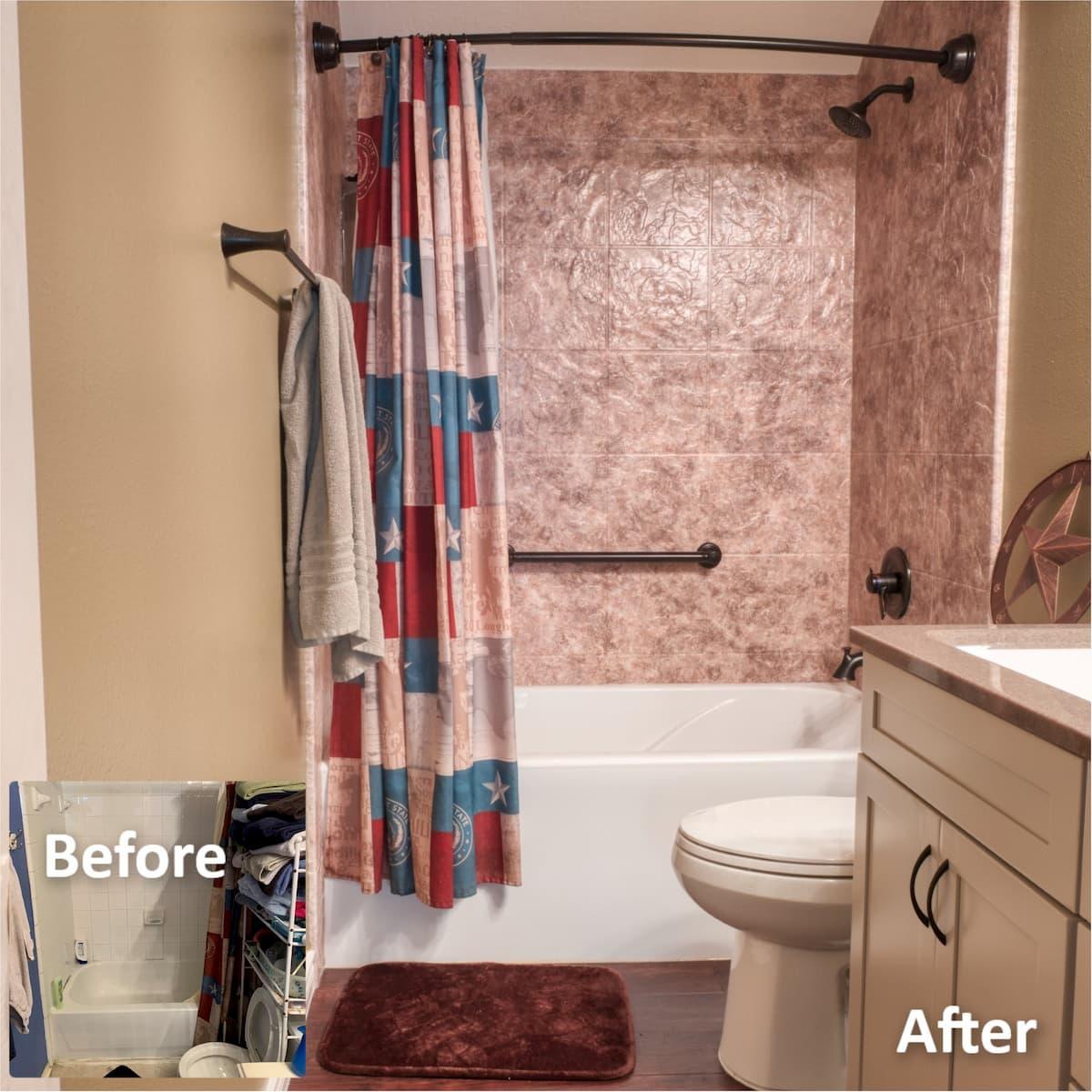 full bathroom remodel using karndean flooring and BCI acrylic bathtub and wall surround