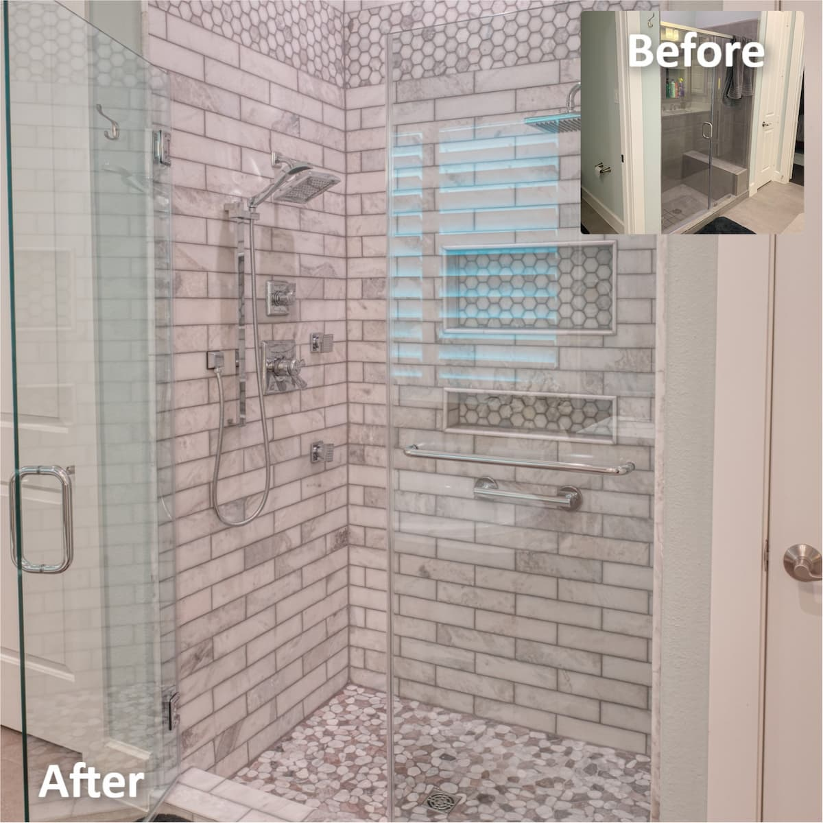 Natural stone subway tile and pebble rock shower floor using schluter system