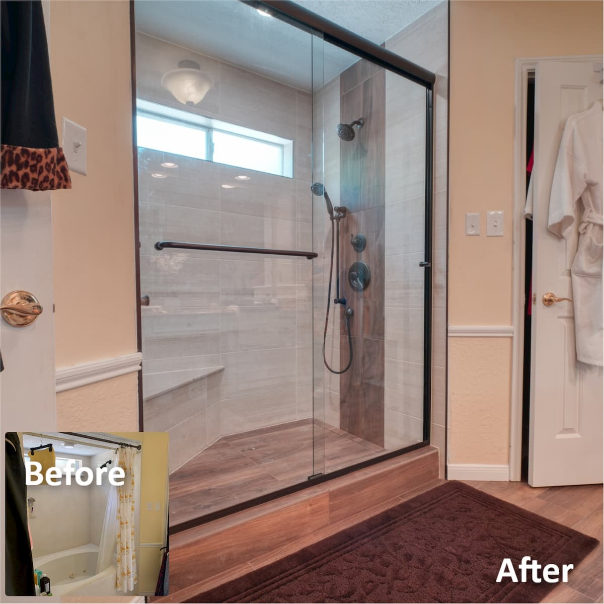 Tub to shower conversion using tile shower system schluter and linear drain