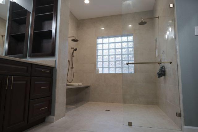Zero Threshold Walk In Shower Remodel