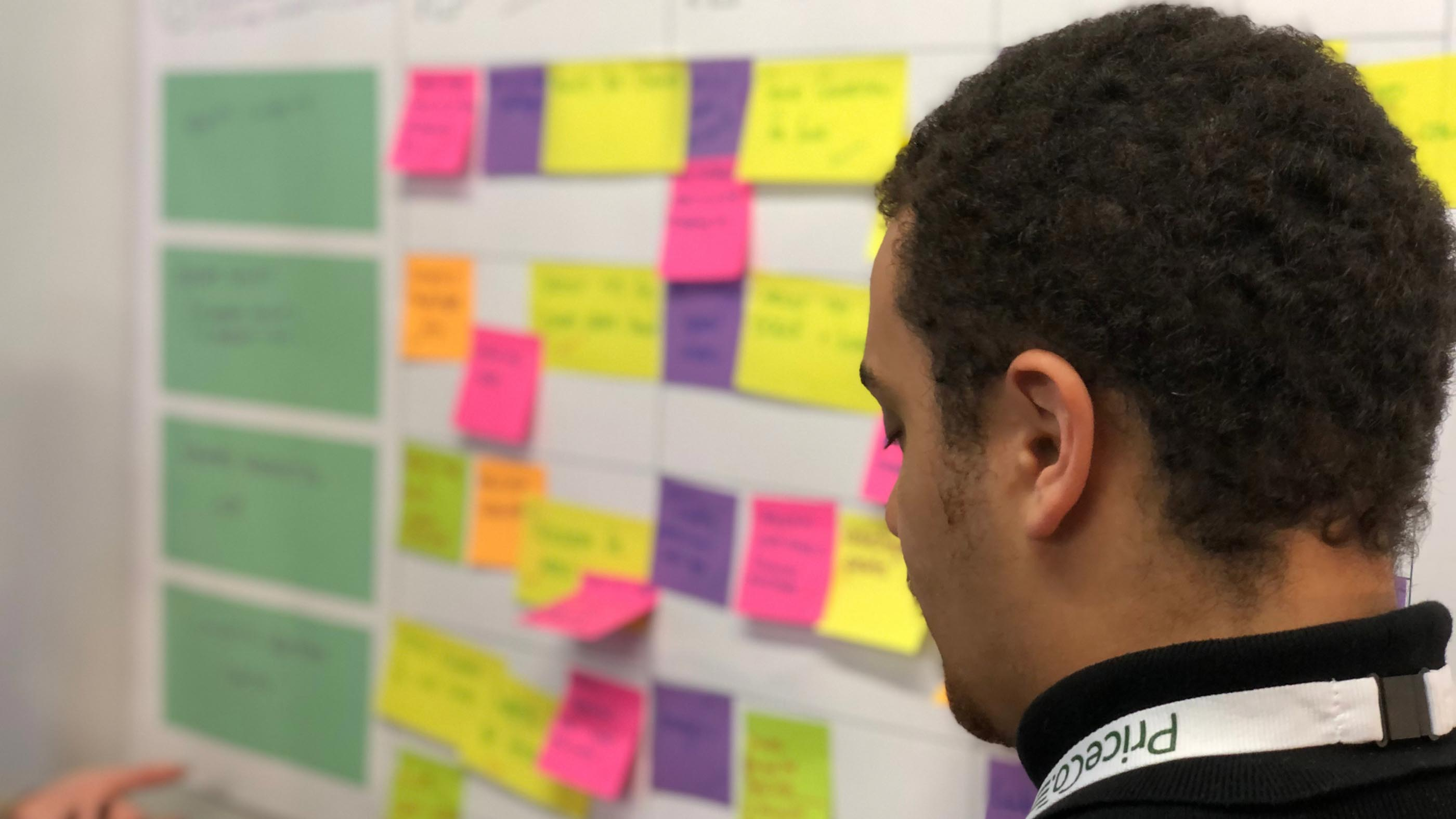 A MadeFor coach looking at Post-it notes
