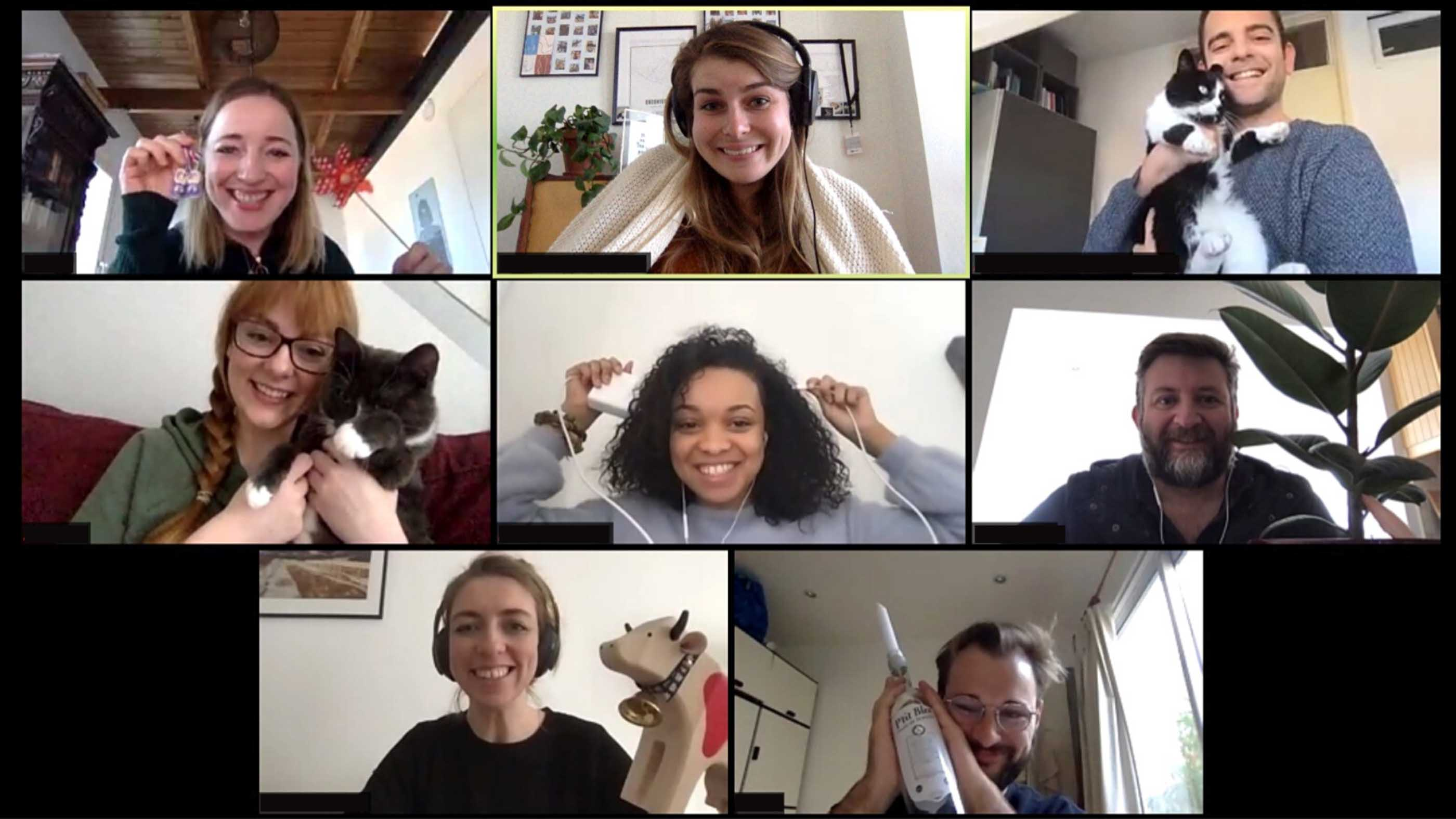 Eight people having fun on a Zoom call
